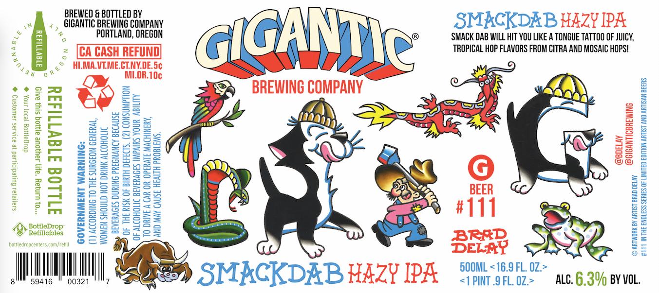 Gigantic Brewing Smackdab Hazy IPA - Label by Brad Delay