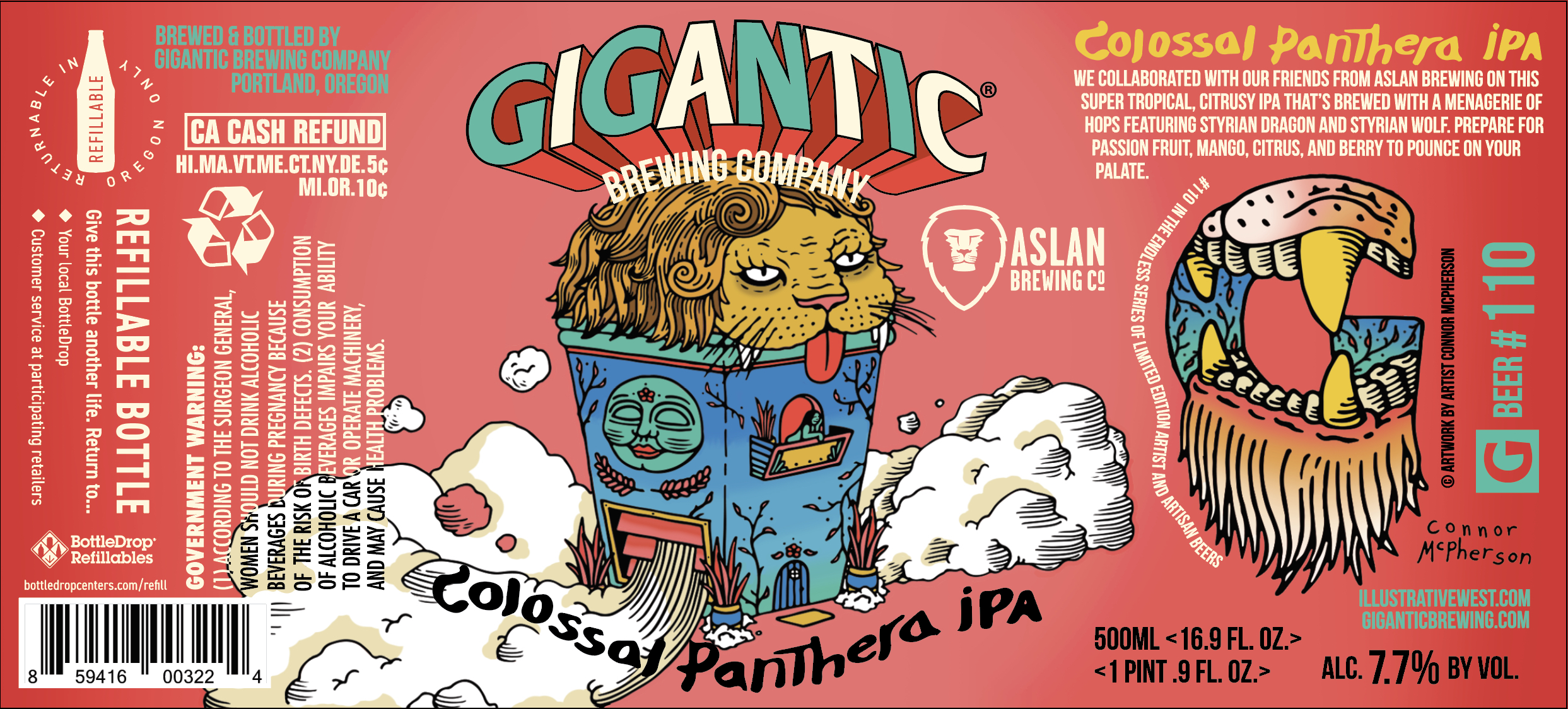 Gigantic Brewing and Aslan Brewing Colossal Panthera IPA Beer Label