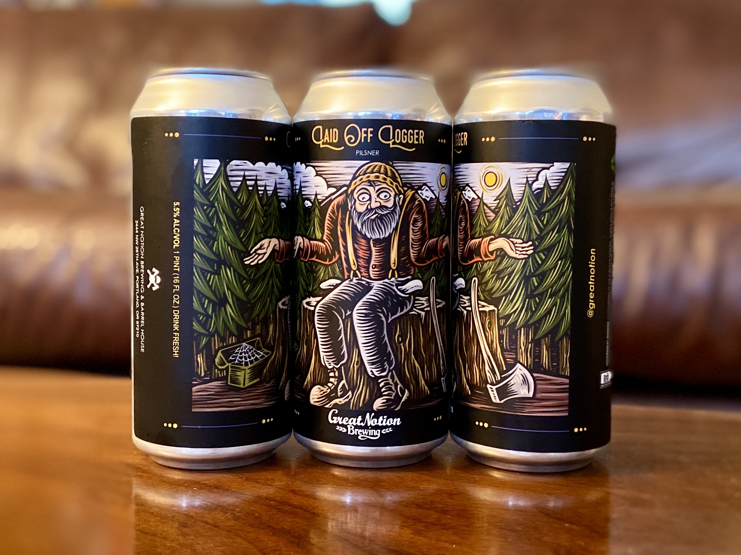 Great Notion Brewing's Laid Off Logger benefits its laid off employees due to the COVID-19 pandemic.