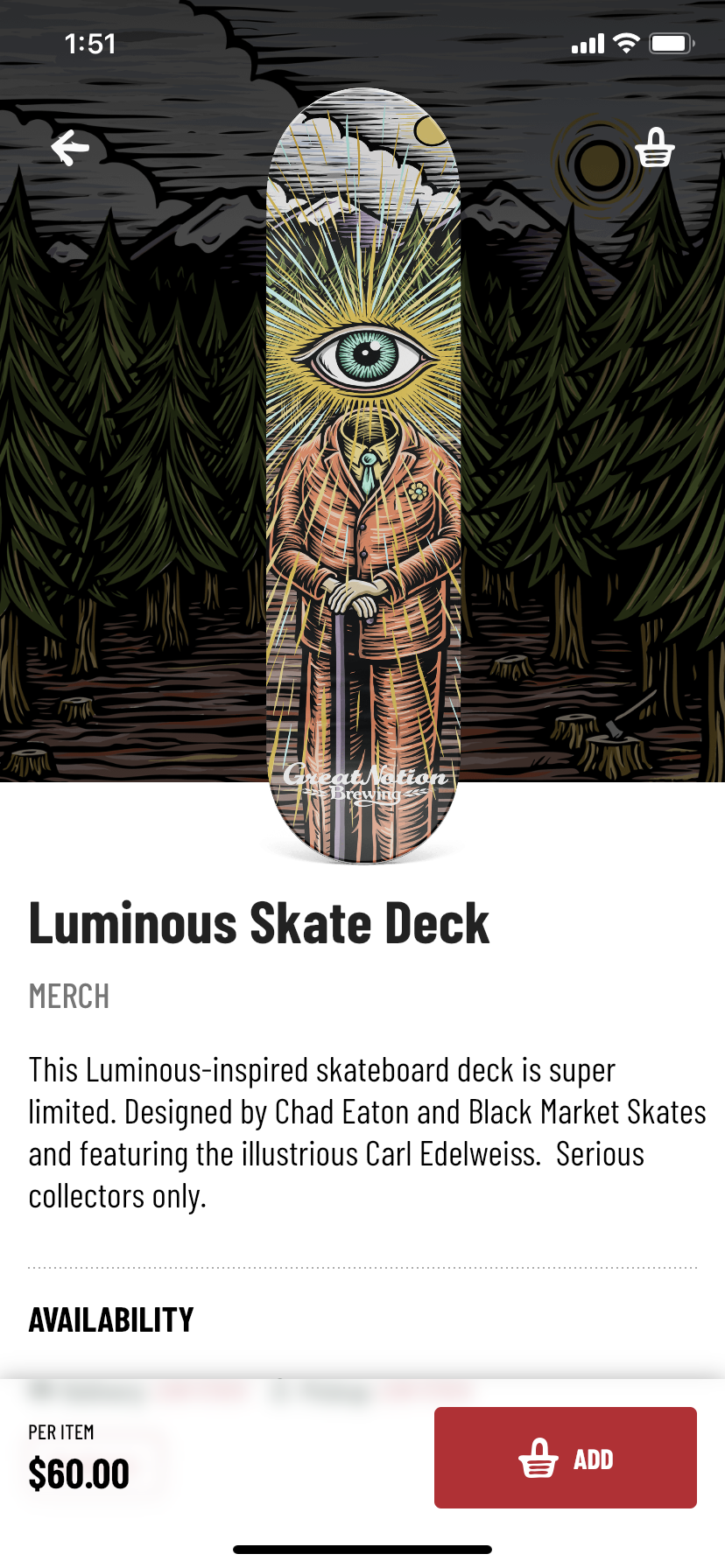 Merchandise will soon be part of the Great Notion Brewing app.