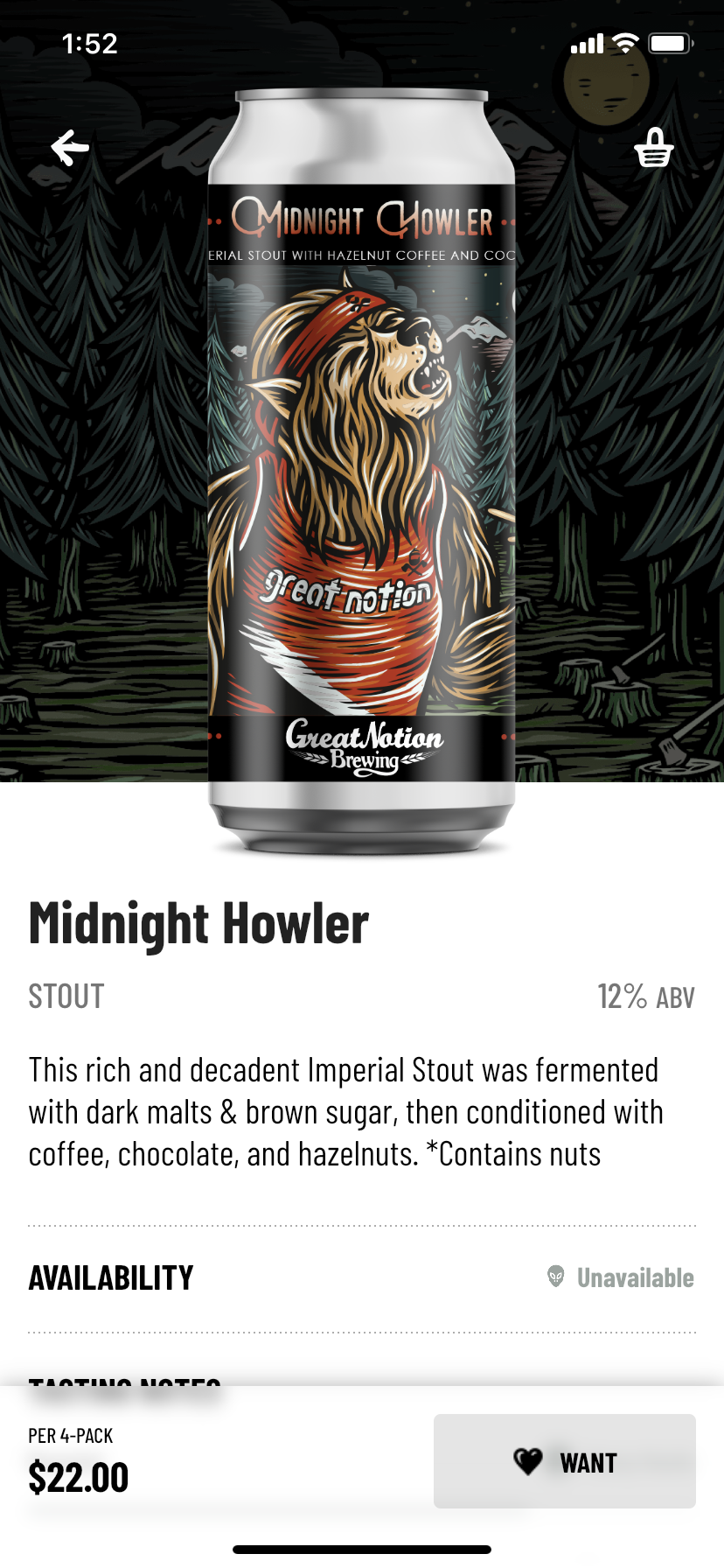 Midnight Howler Stout on the Great Notion Brewing app.