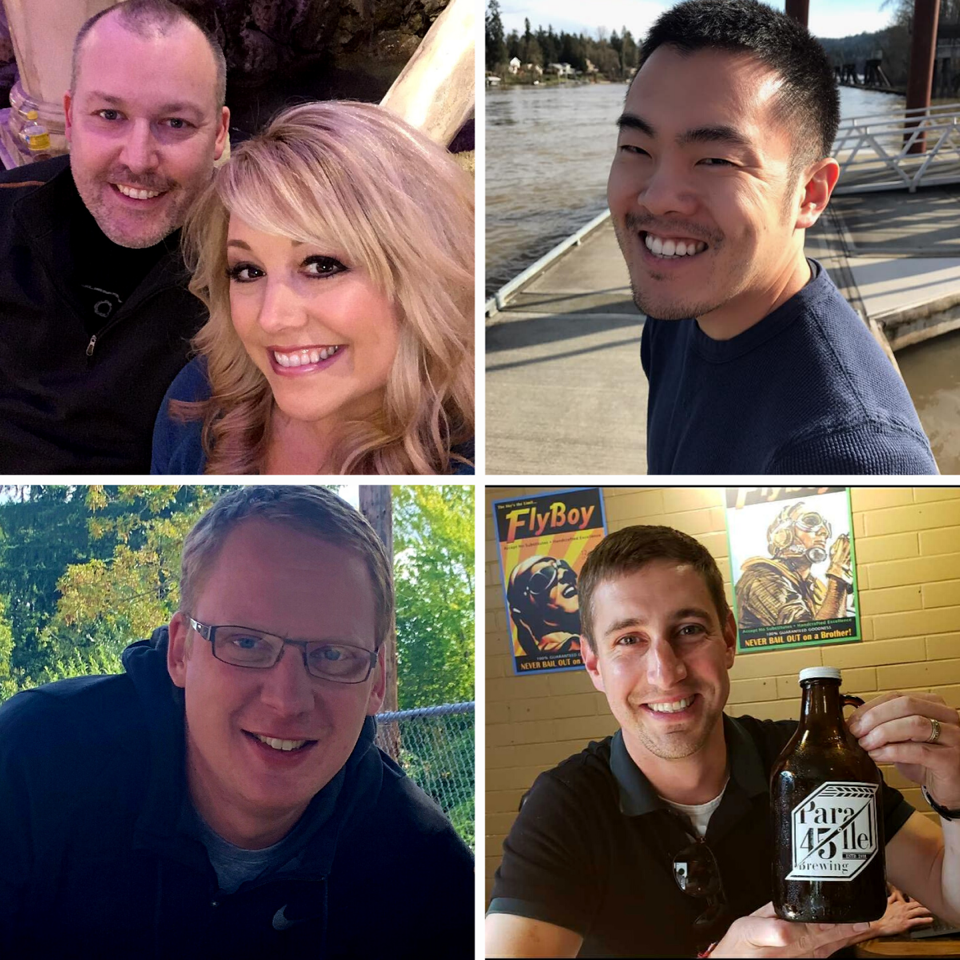 Photo identification from top left clockwise: Mark & Kristi Becker, Ramie Mount, Brian Kovach and Greg Laird. (image courtesy of Cascade Brewing)