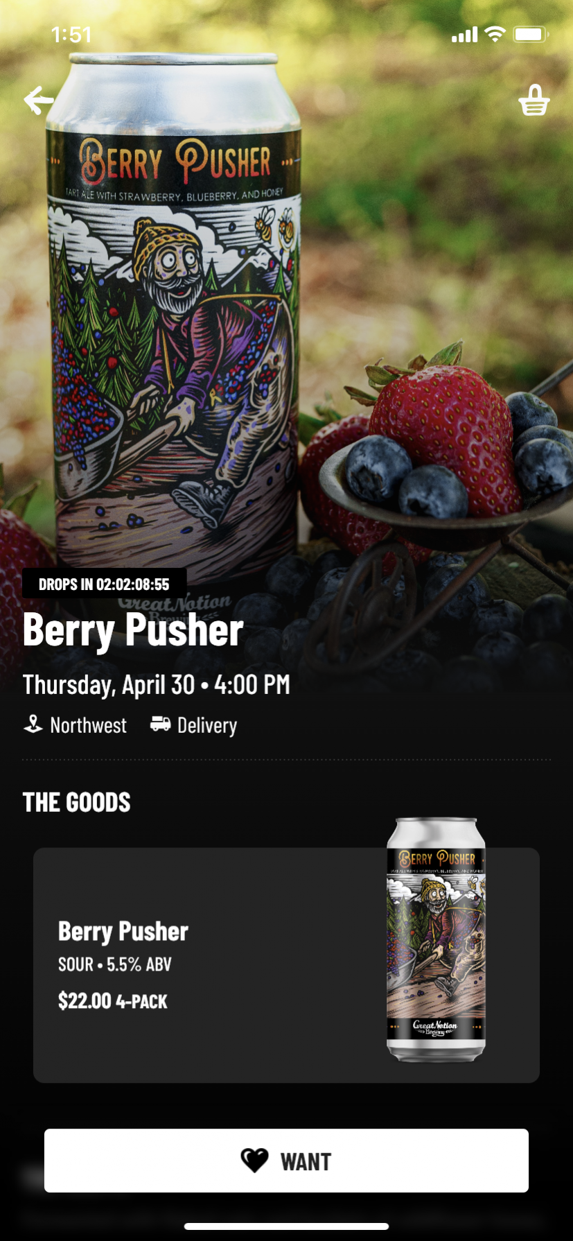 Purchasing beer is simple on the Great Notion Brewing app.