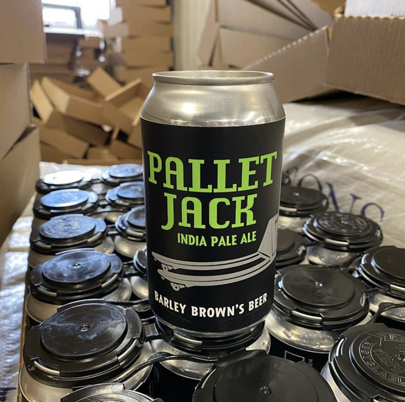 image of 12oz cans of Pallet Jack IPA courtesy of Barley Brown's Beer