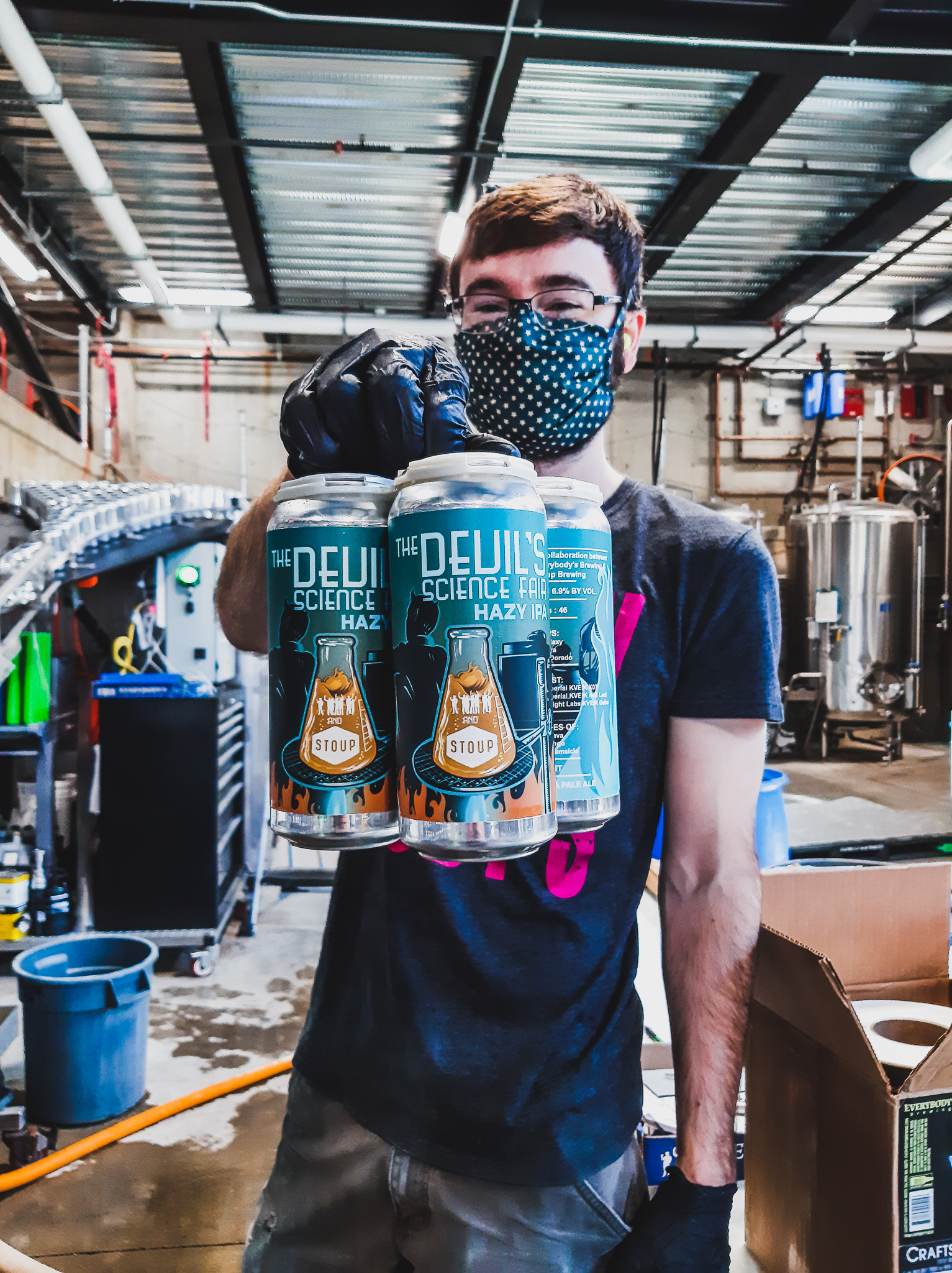 image of Cellar Operator Forest Williams holding new 4-Pack of The Devil's Science Fair courtesy of Everybody's Brewing