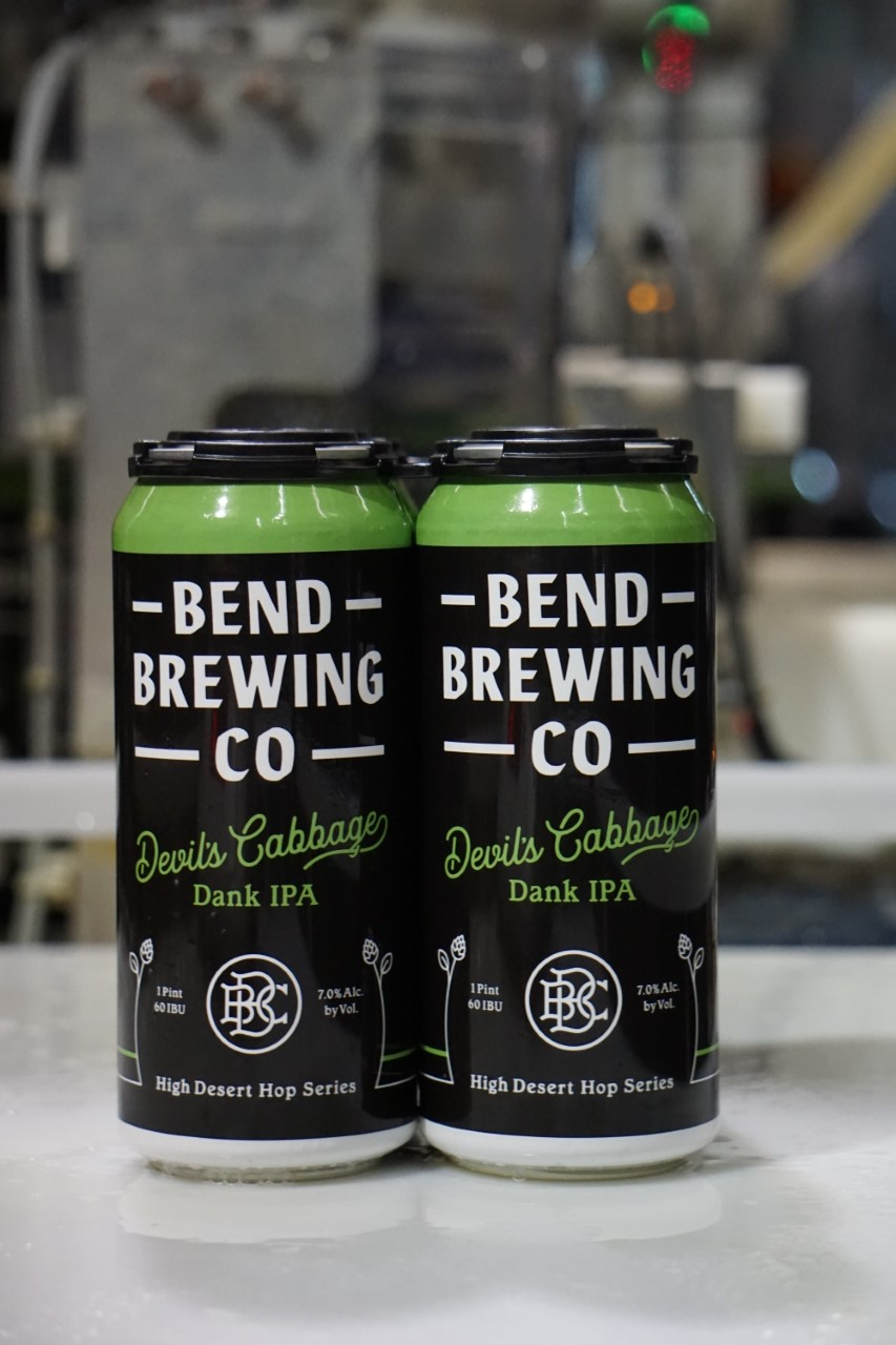 image of Devil's Cabbage Dank IPA Cans courtesy of Bend Brewing Co.