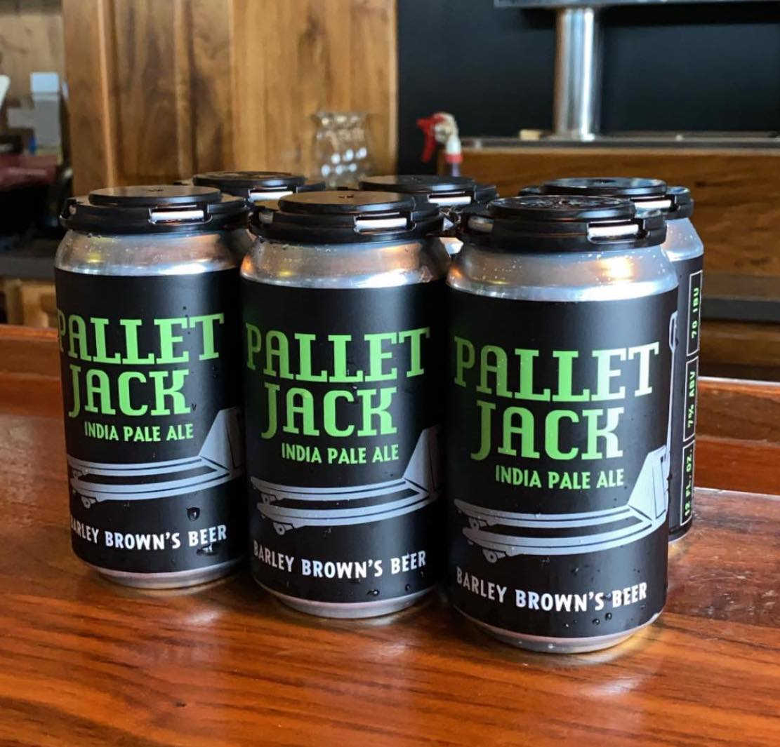image of Six Pack, 12oz cans of Pallet Jack IPA courtesy of Barley Brown's Beer