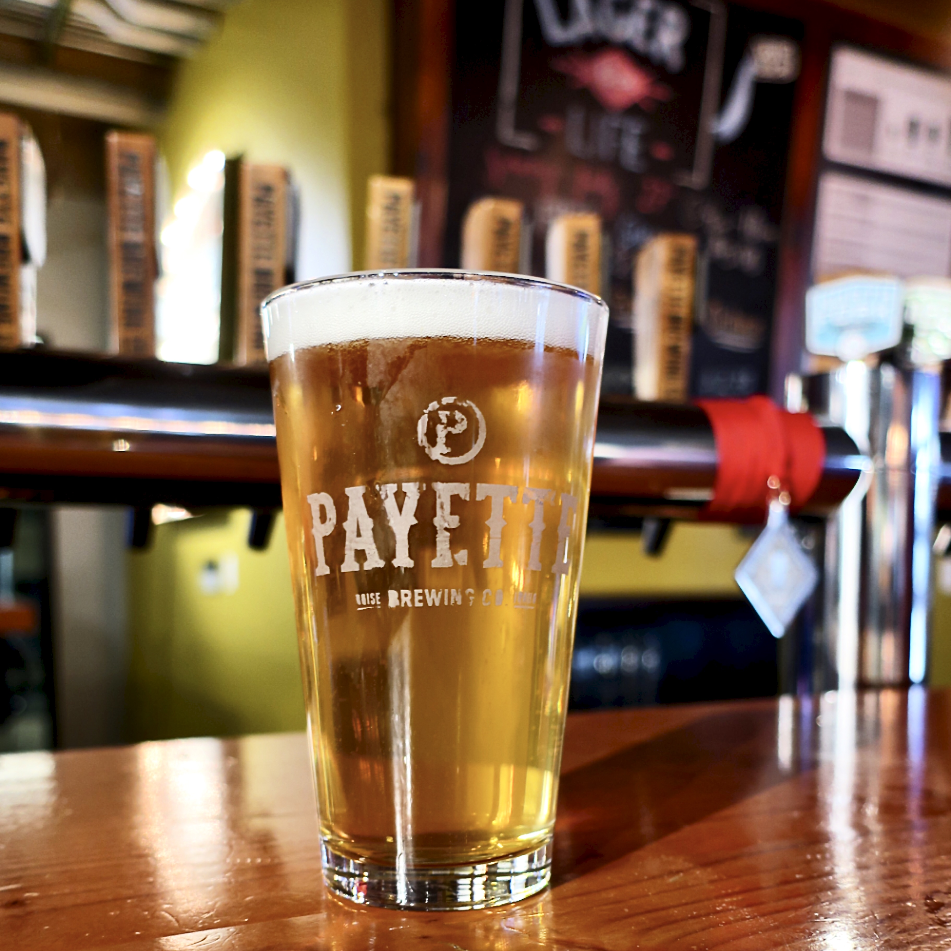 A pint inside the taproom at Payette Brewing.