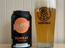 Ecliptic Brewing's SunRay Juicy IPA served in a BREWPUBLIC glass.