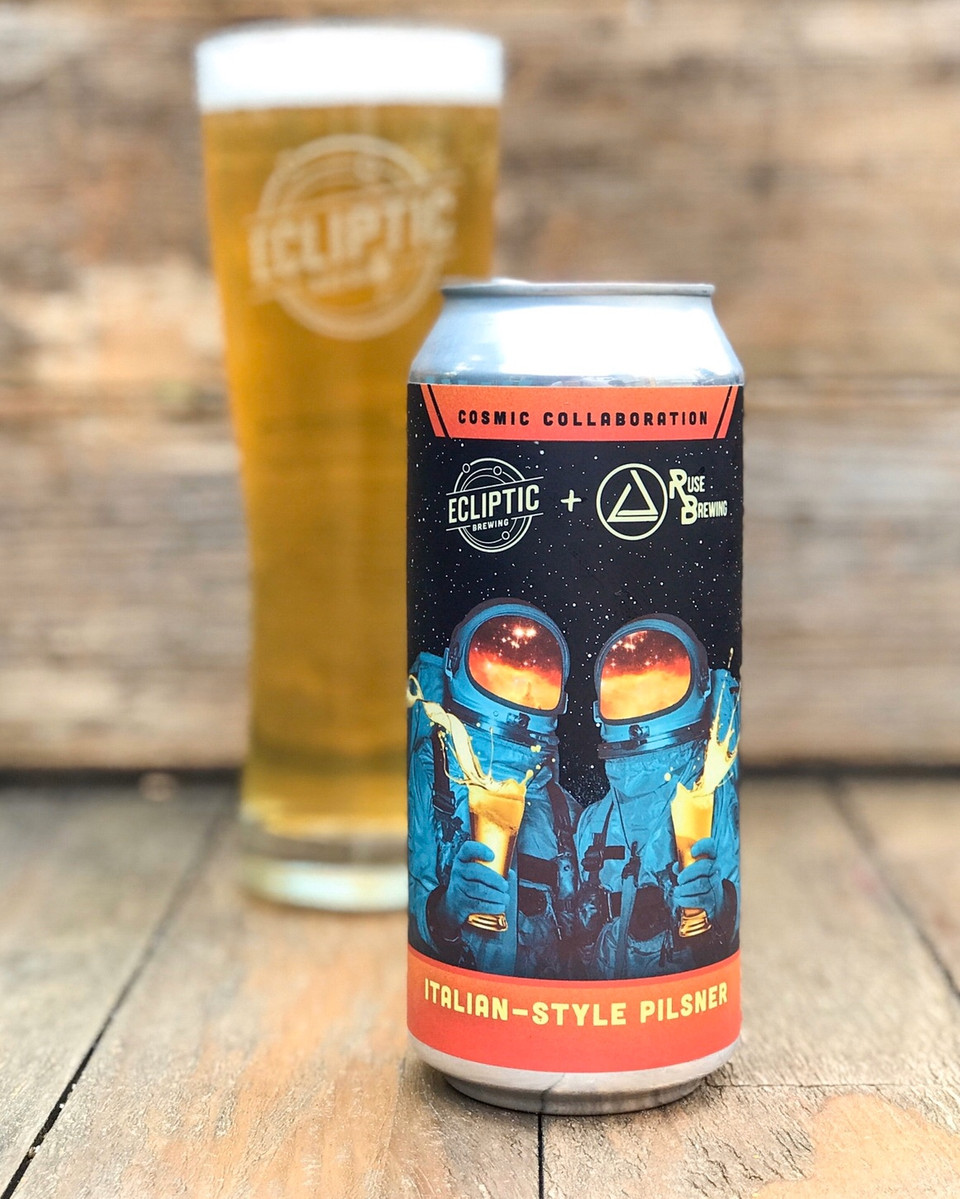 Image of 2020 Cosmic Collaboration Series Ecliptic + Ruse Italian-Style Pilsner courtesy of Ecliptic Brewing