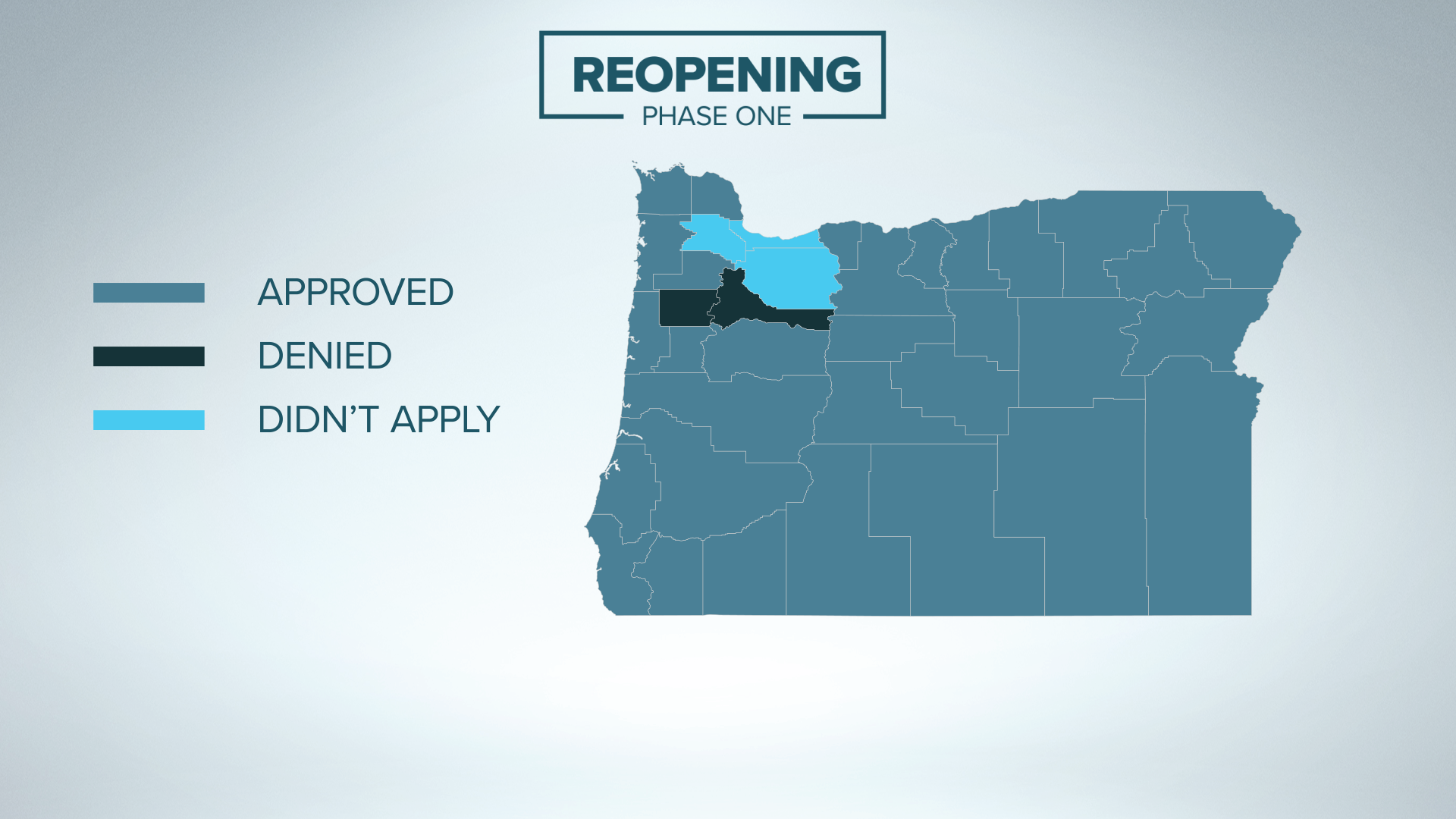 Map of Oregon Counties that may reopen in Phase 1. (credit KGW News)