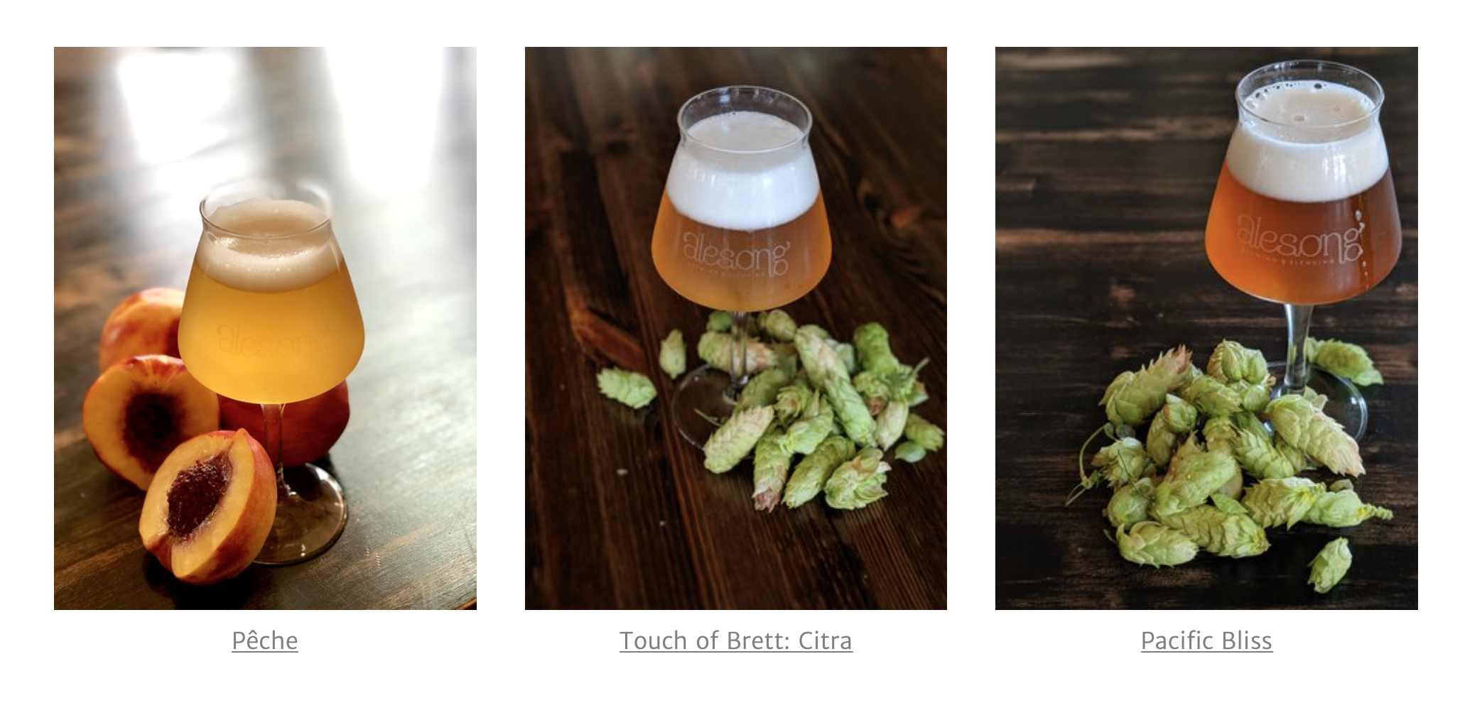 image of Pêche, Touch Of Brett: Citra, and Pacific Bliss (Club Only Release) courtesy of Alesong Brewing & Blending