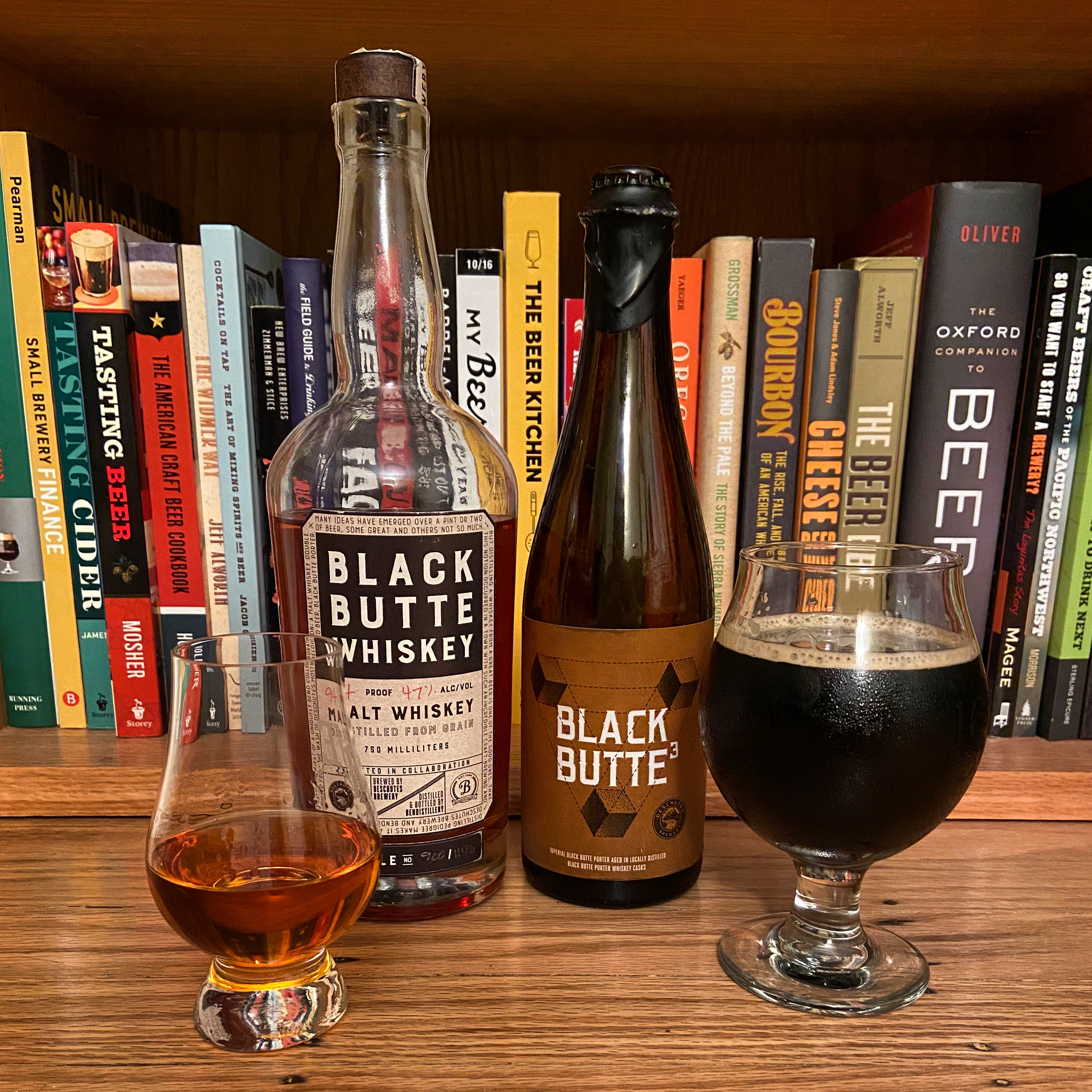 A bottle of Black Butte³ and paired with a dram of Black Butte Whiskey. This is a cask share between Deschutes Brewery and Bend Distillery (Crater Lake Spirits). Really digging the Black Butte³ that was aged in former Black Butte Whiskey barrels.