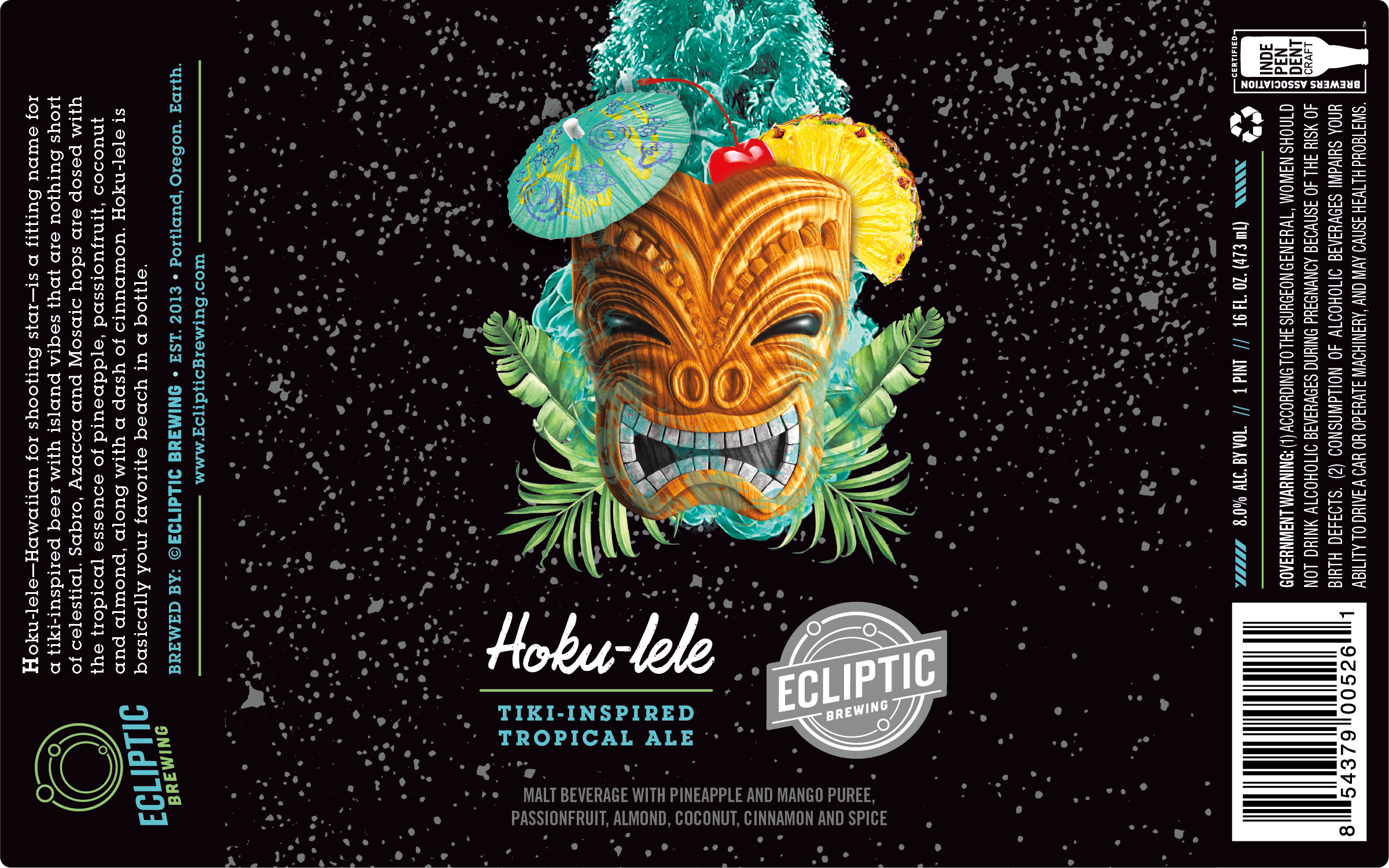 Ecliptic-Brewing-Hoku-lele-Tiki-Inspired-Tropical-Ale-Label