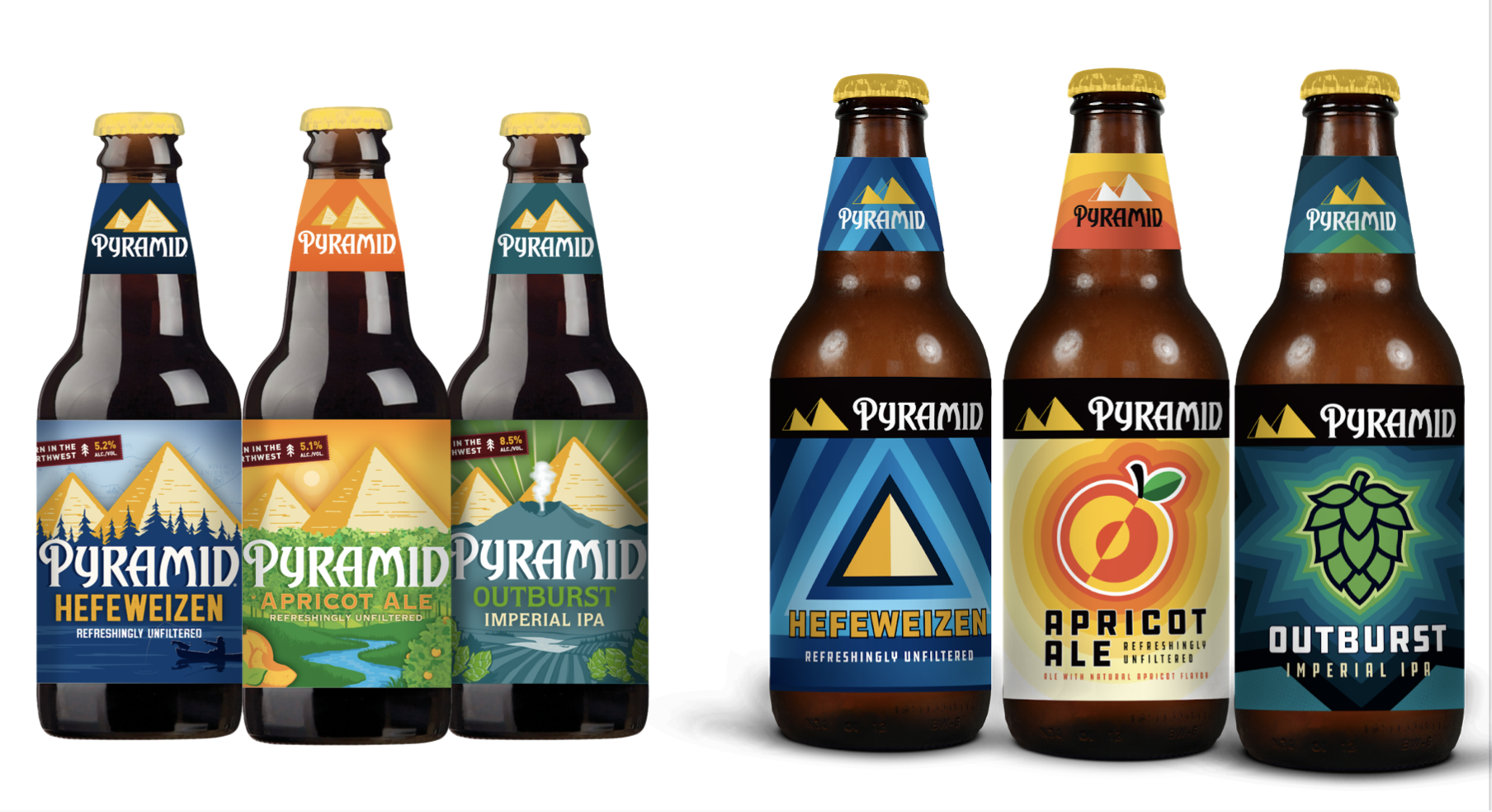 Former and Updated Pyramid Brewing 12oz bottle packaging of Hefeweizen, Apricot Ale, and Outburst Imperial IPA.