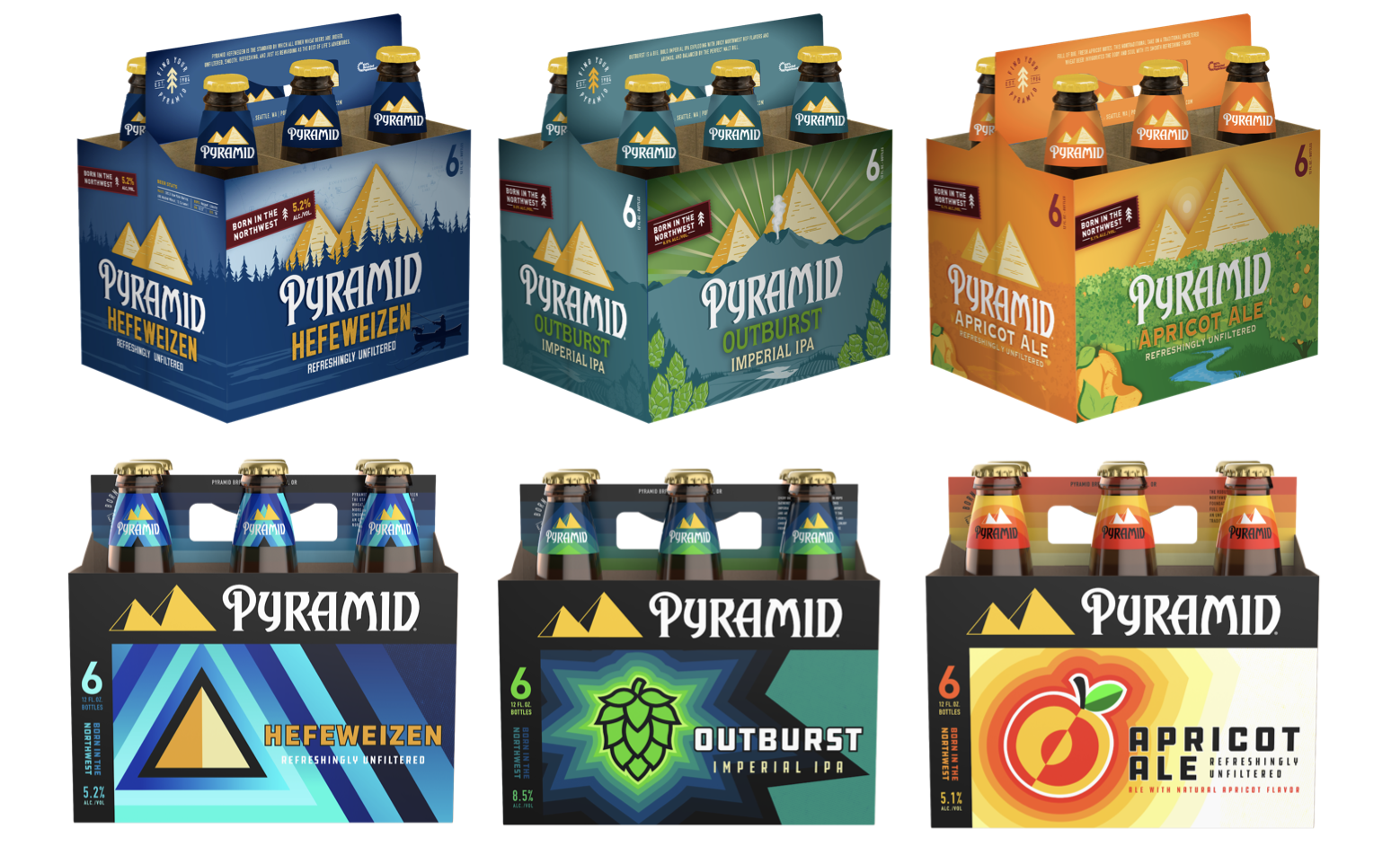 Former and Updated Pyramid Brewing 6-pack packaging of Hefeweizen, Outburst Imperial IPA, and Apricot Ale.