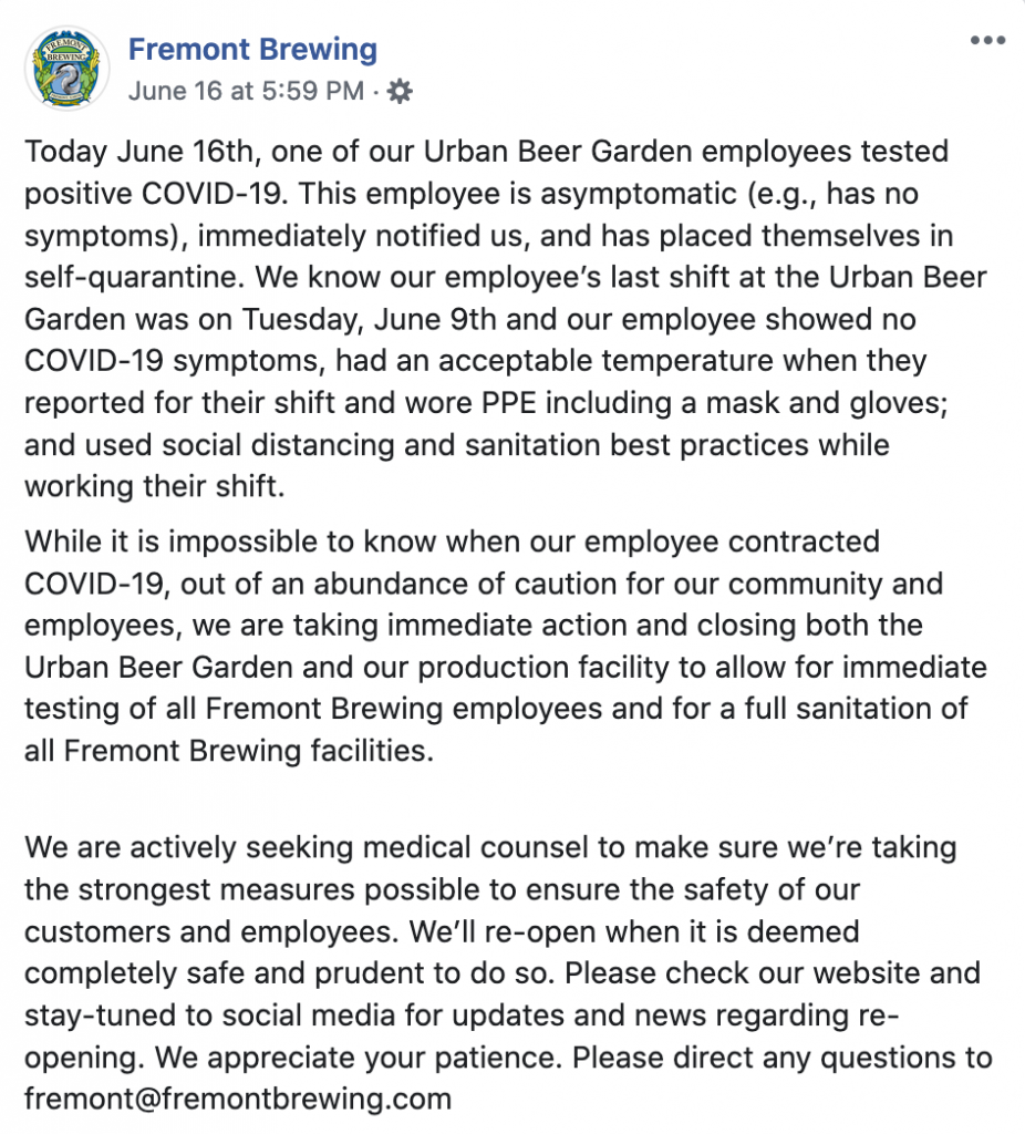 In Seattle, Fremont Brewing's Urban Beer Garden closes back down during the COVID-19 pandemic as one of its employees tested positive for the virus.
