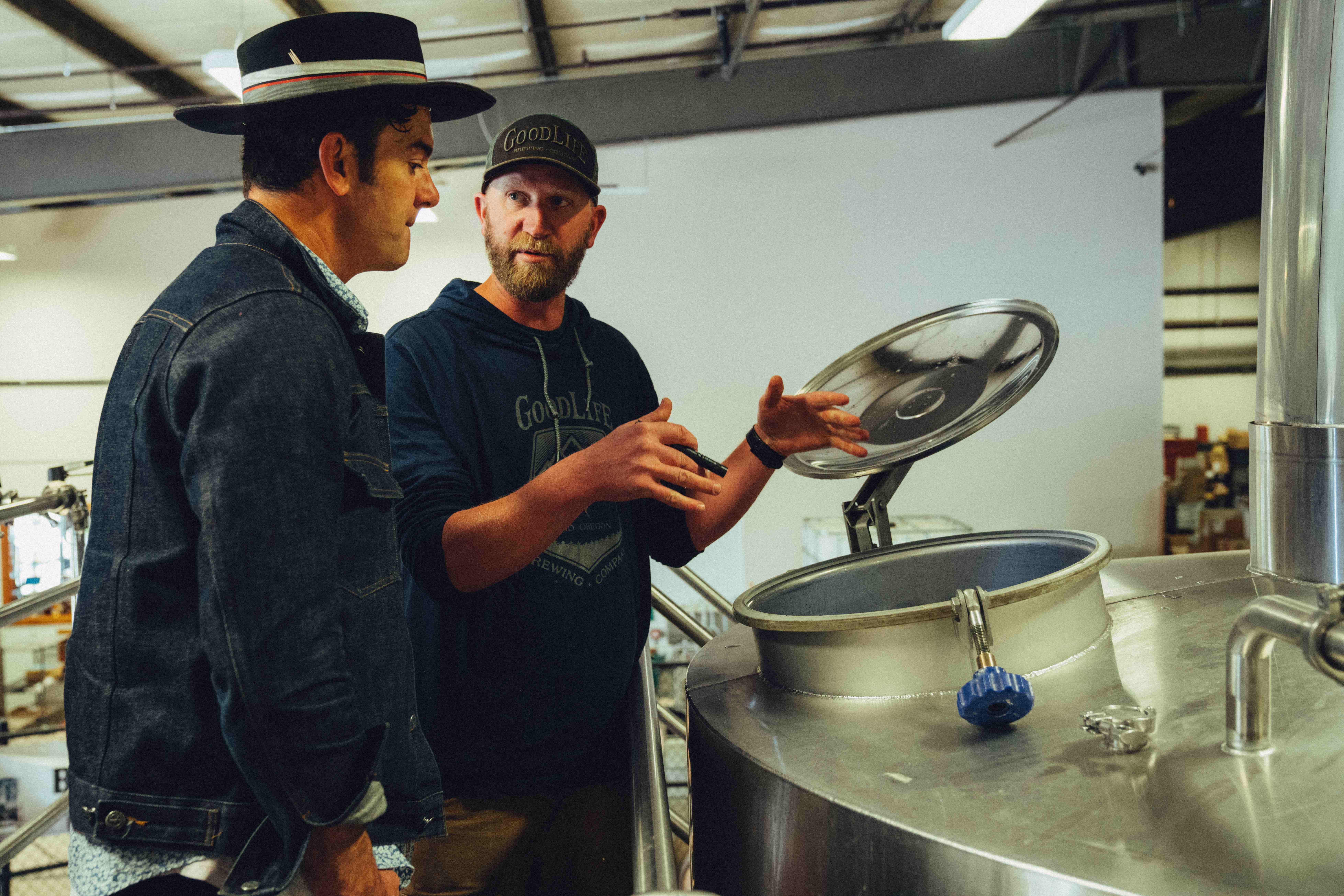 G. Love and Tyler West on the brewdeck. (image courtesy of GoodLife Brewing)