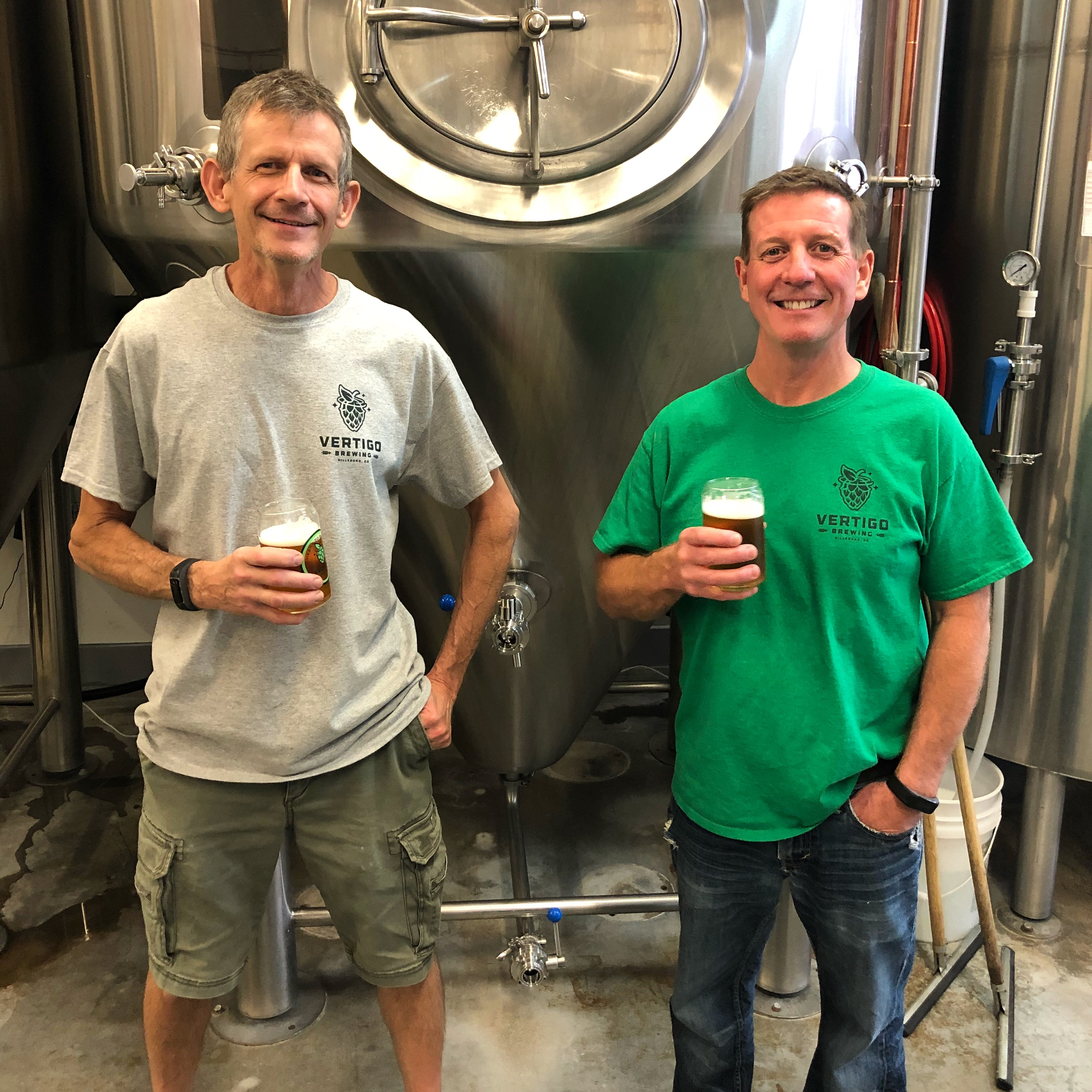 Mike Haines and Mike Kinion, co-founders of Vertigo Brewing.