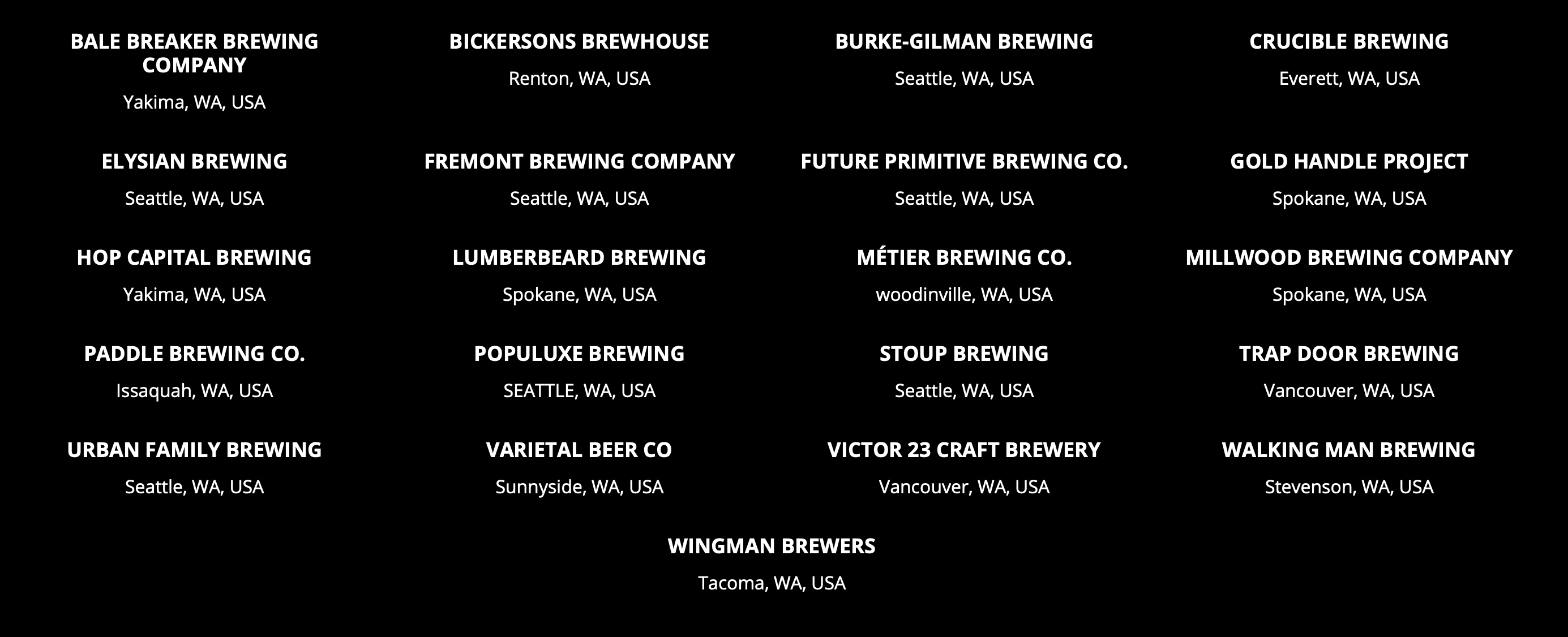 Participating Washington breweries in the Black is Beautiful beer.