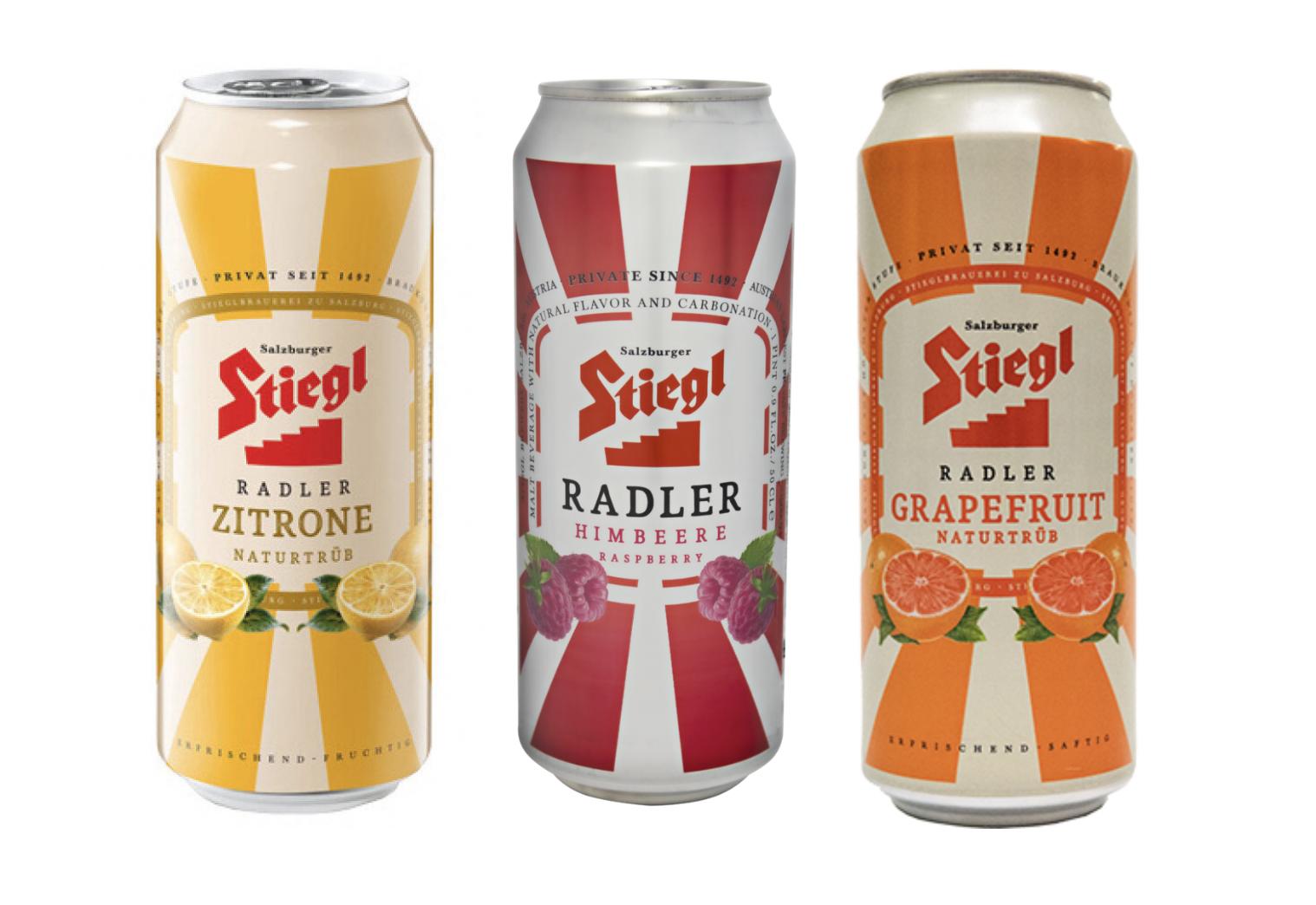 Stiegl Radlers - Zitrone, Himbeere (Raspberry) and Grapefruit