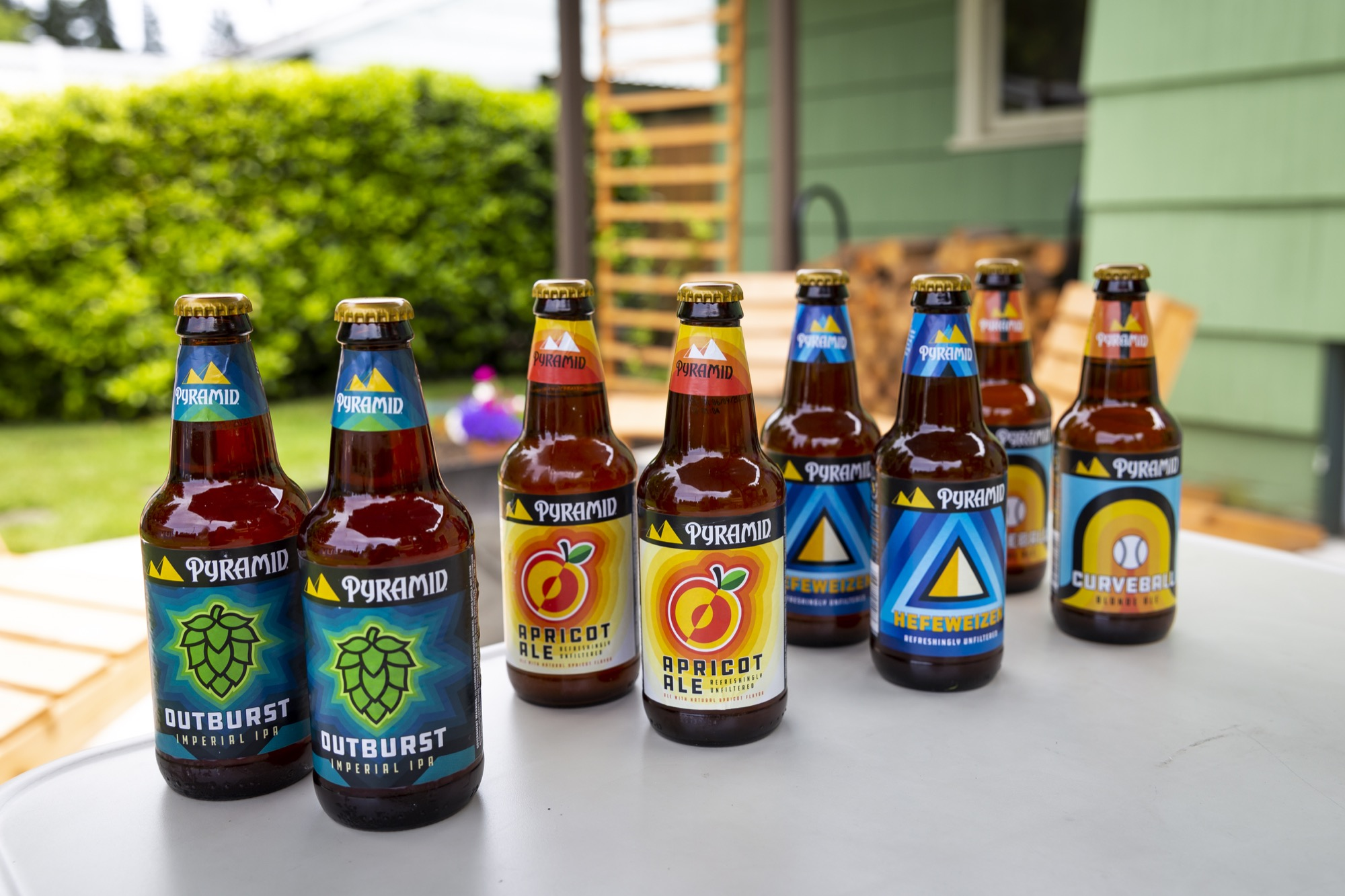 Updated Pyramid packaging for its Outburst Imperial IPA, Apricot Ale, Hefeweizen, and Curveball Blonde Ale. (image courtesy of Pyramid Brewing)