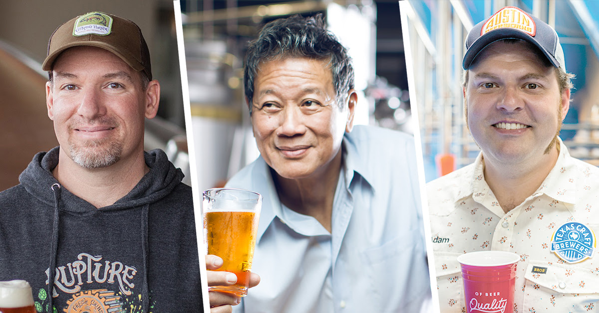 image of Brendan McGivney (Odell Brewing Co.), Oscar Wong (Highland Brewing Co.), and Adam DeBower (Austin Beerworks) courtesy of the Brewers Association