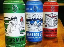 image of cans of Friar Mike's IPA, Vertigo IPA, and Raspberry Wheat courtesy of Vertigo Brewing