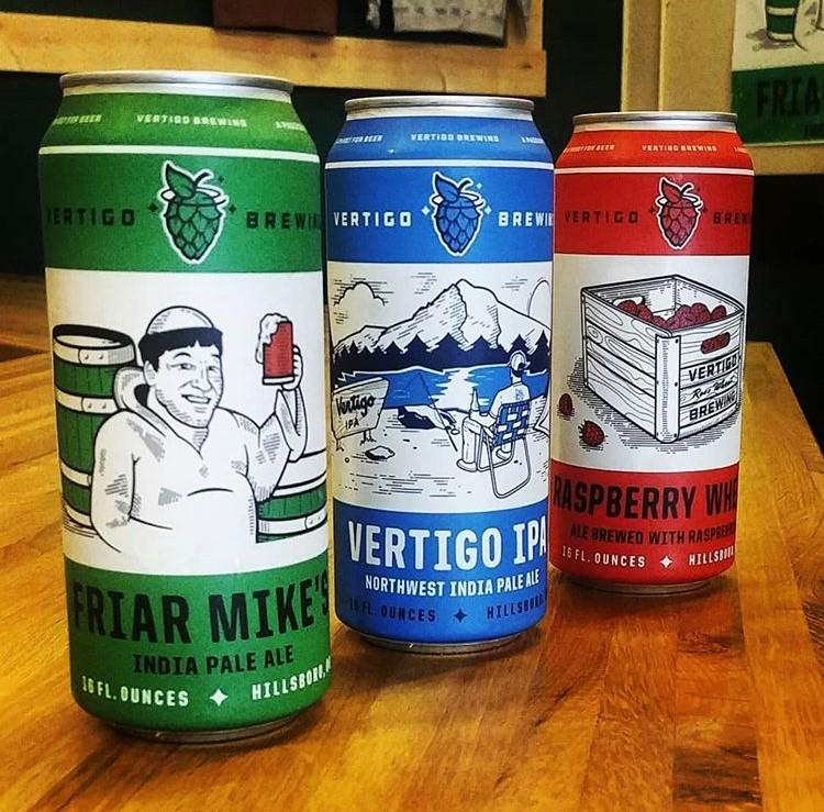 image of cans of Friar Mike's IPA, Vertigo IPA, and Raspberry Wheat courtesy of Vertigo Brewing