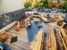 image of the sprawling outdoor deck courtesy of Wayfinder Beer