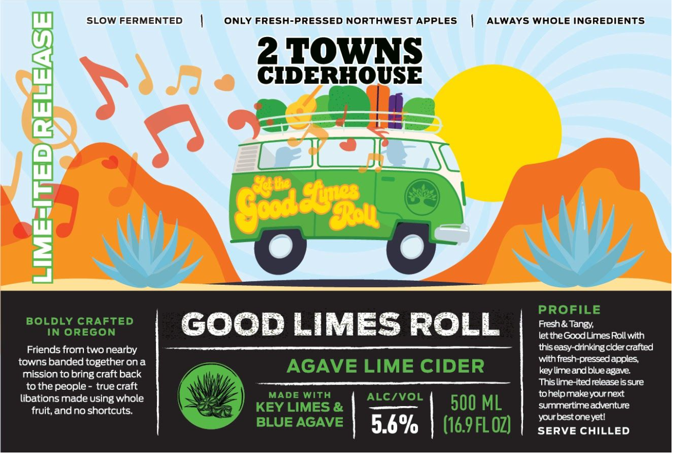 2 Towns Ciderhouse Good Limes Roll Agave Lime Cider Label