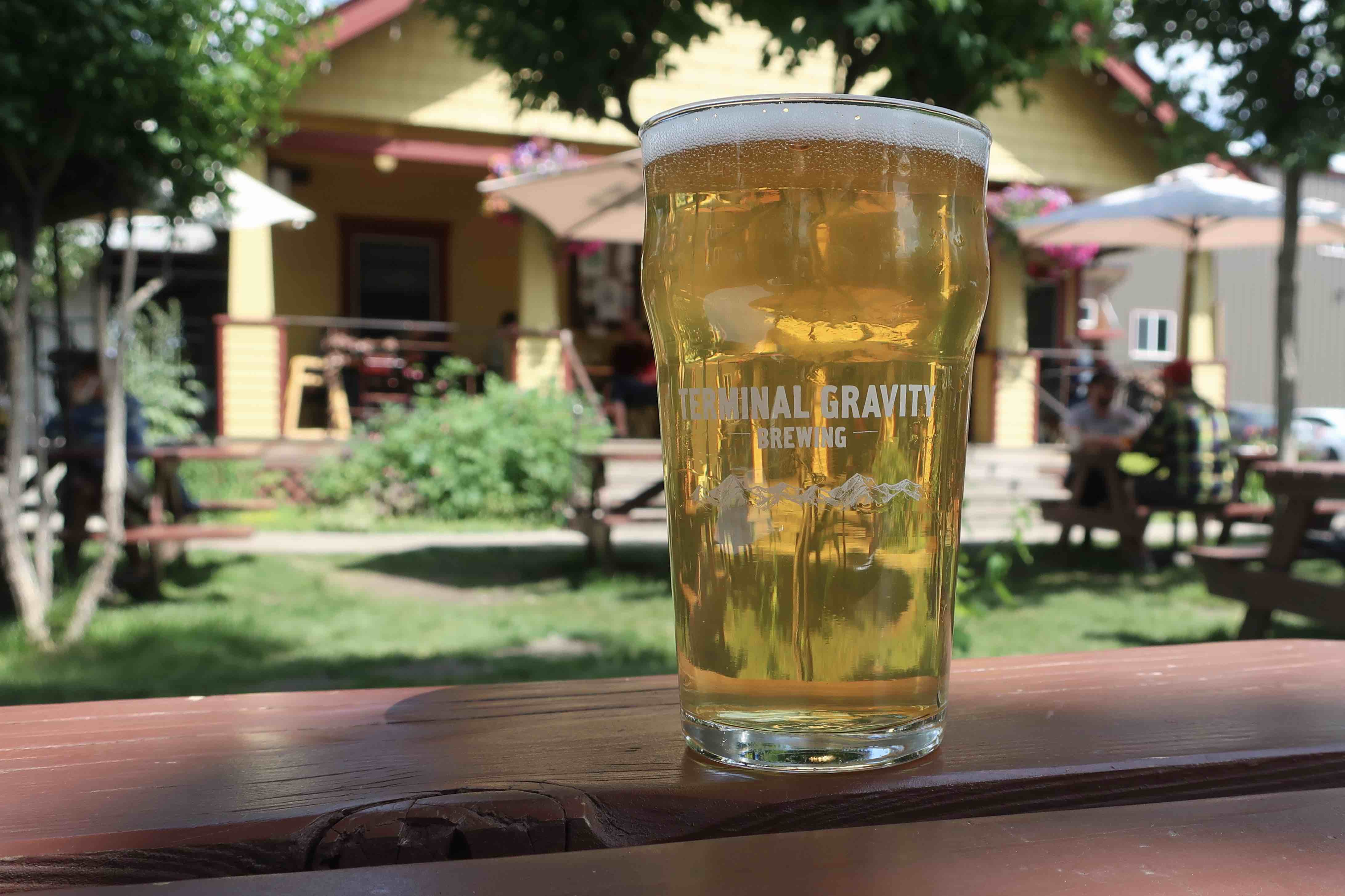 A pint in the beer garden at Terminal Gravity Brewing in Enterprise, Oregon.