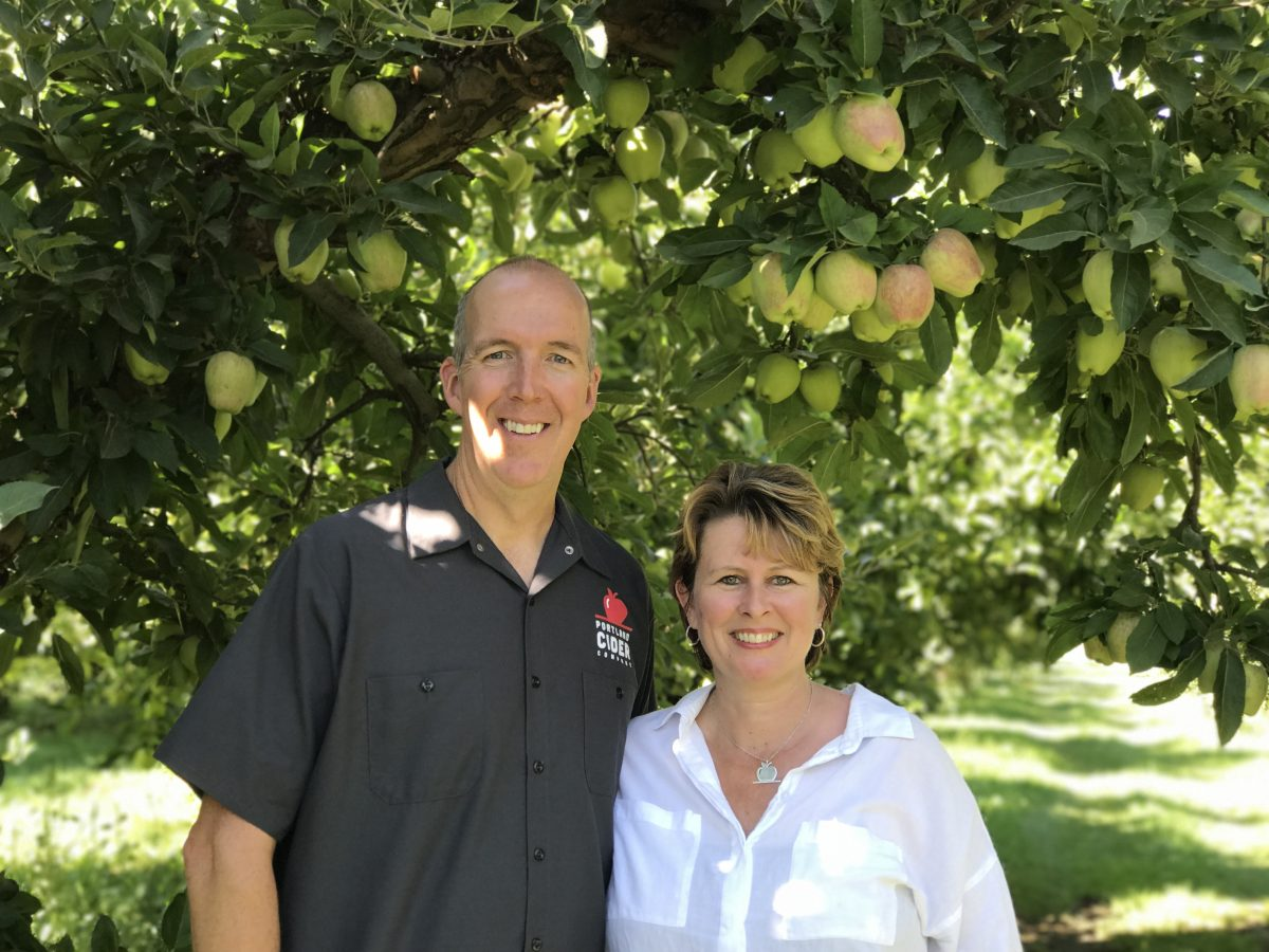 image of owners Jeff & Lynda Parrish courtesy of Portland Cider Co.