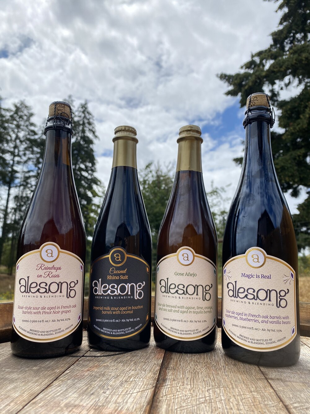 August 2020 beer releases from Alesong Brewing & Blending - Raindrops on Roses, Gose Añejo, Coconut Rhino Suit, and Magic is Real. (image courtesy of Alesong Brewing & Blending)