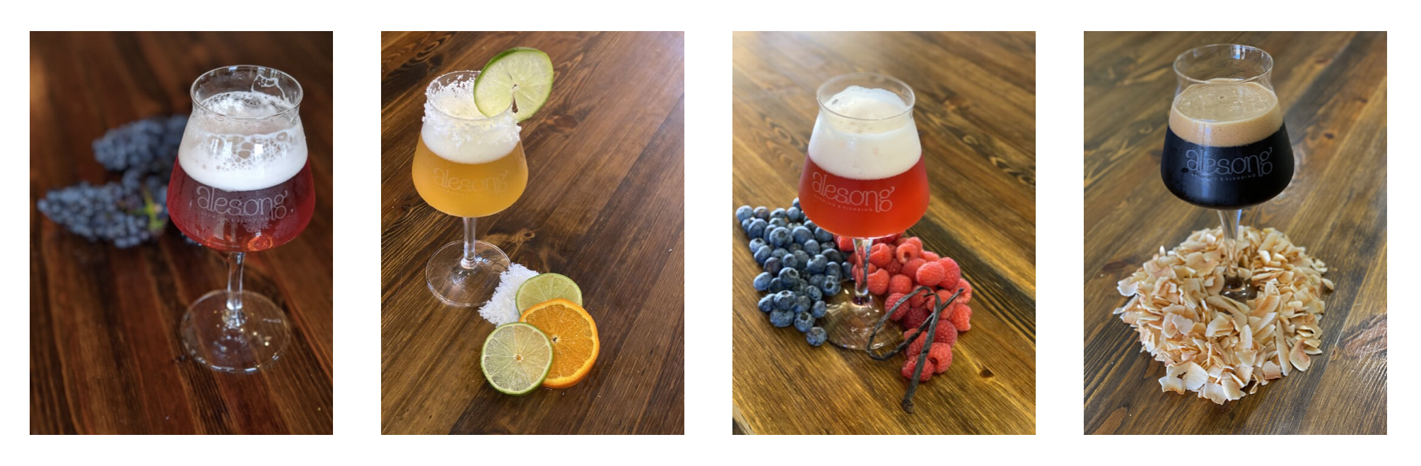 August 2020 beer releases from Alesong Brewing & Blending - Raindrops on Roses, Gose Añejo, Magic is Real, and Coconut Rhino Suit. (image courtesy of Alesong Brewing & Blending).JPG