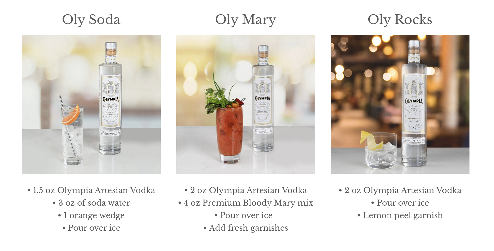 Olympia Artesian Vodka Coktail Recipes