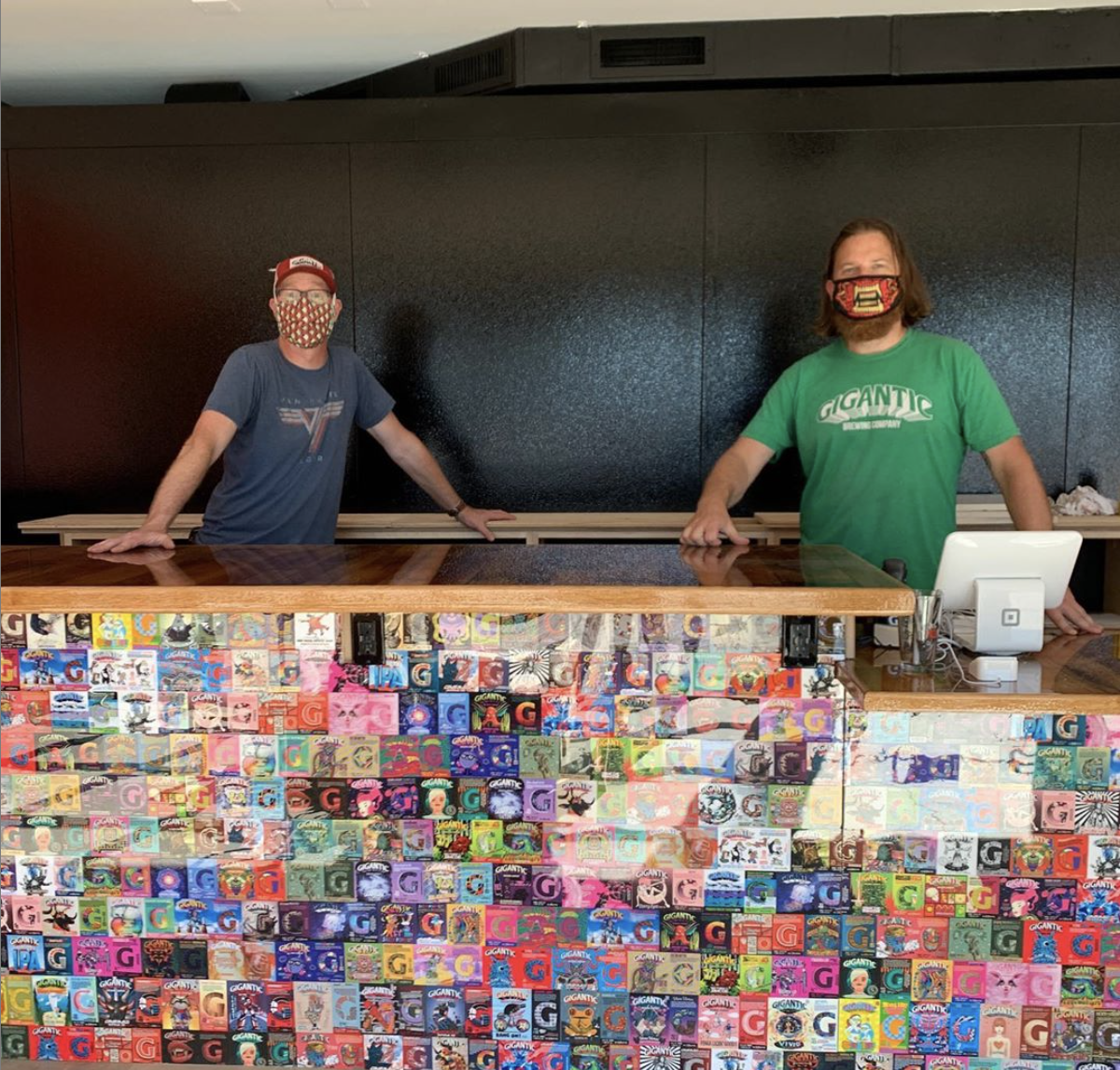 Van Havig and Ben Love at the new Gigantic Robot Room. (image courtesy of Gigantic Brewing)