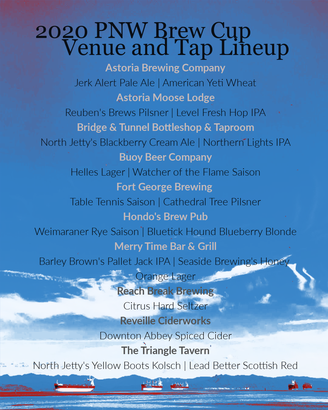 2020 Pacific Northwest Brew Cup Venues and Tap Lineup