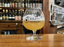 A beer at the bar at Bailey's Taproom.