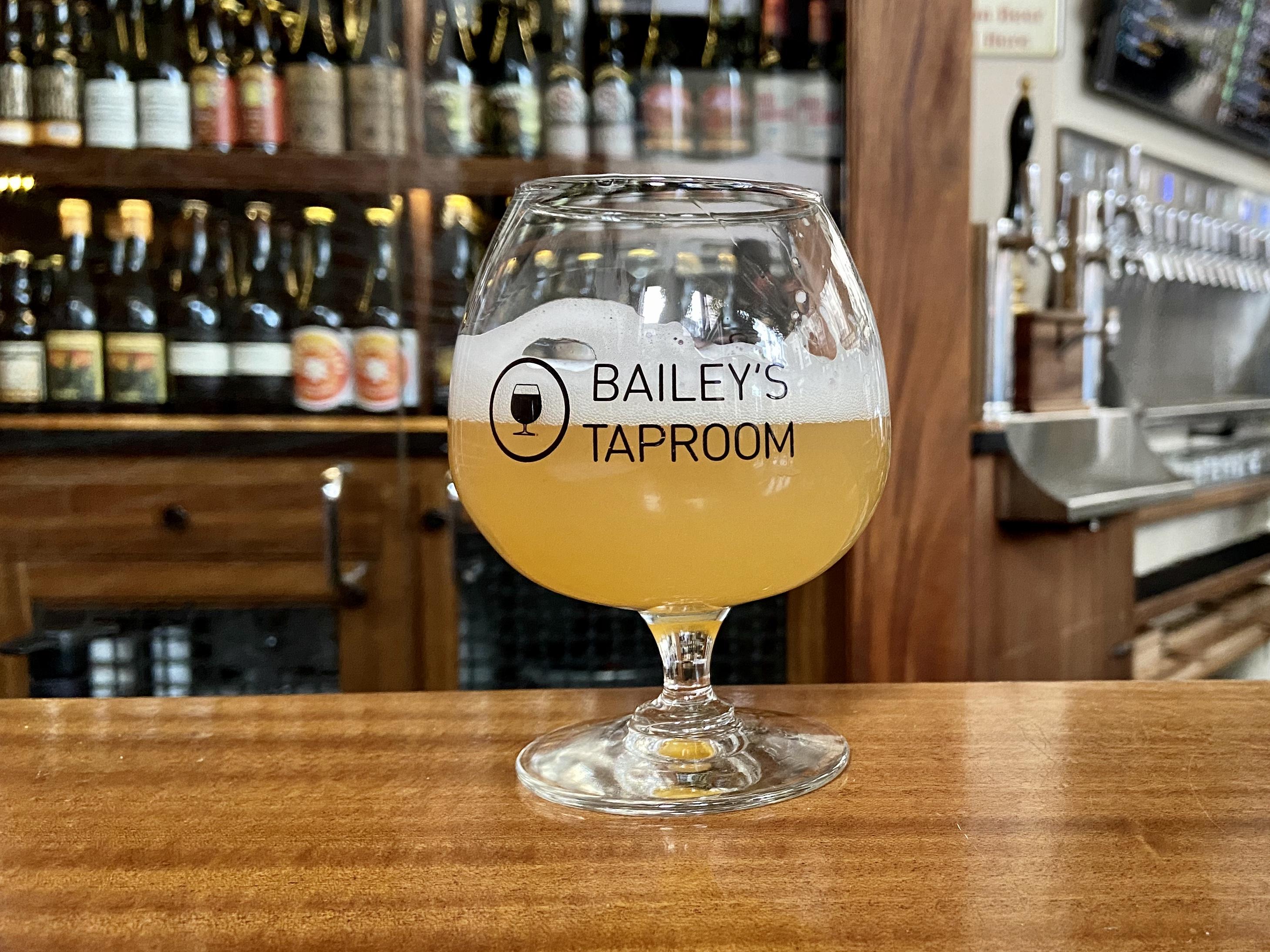 A beer at the bar at Bailey's Taproom.