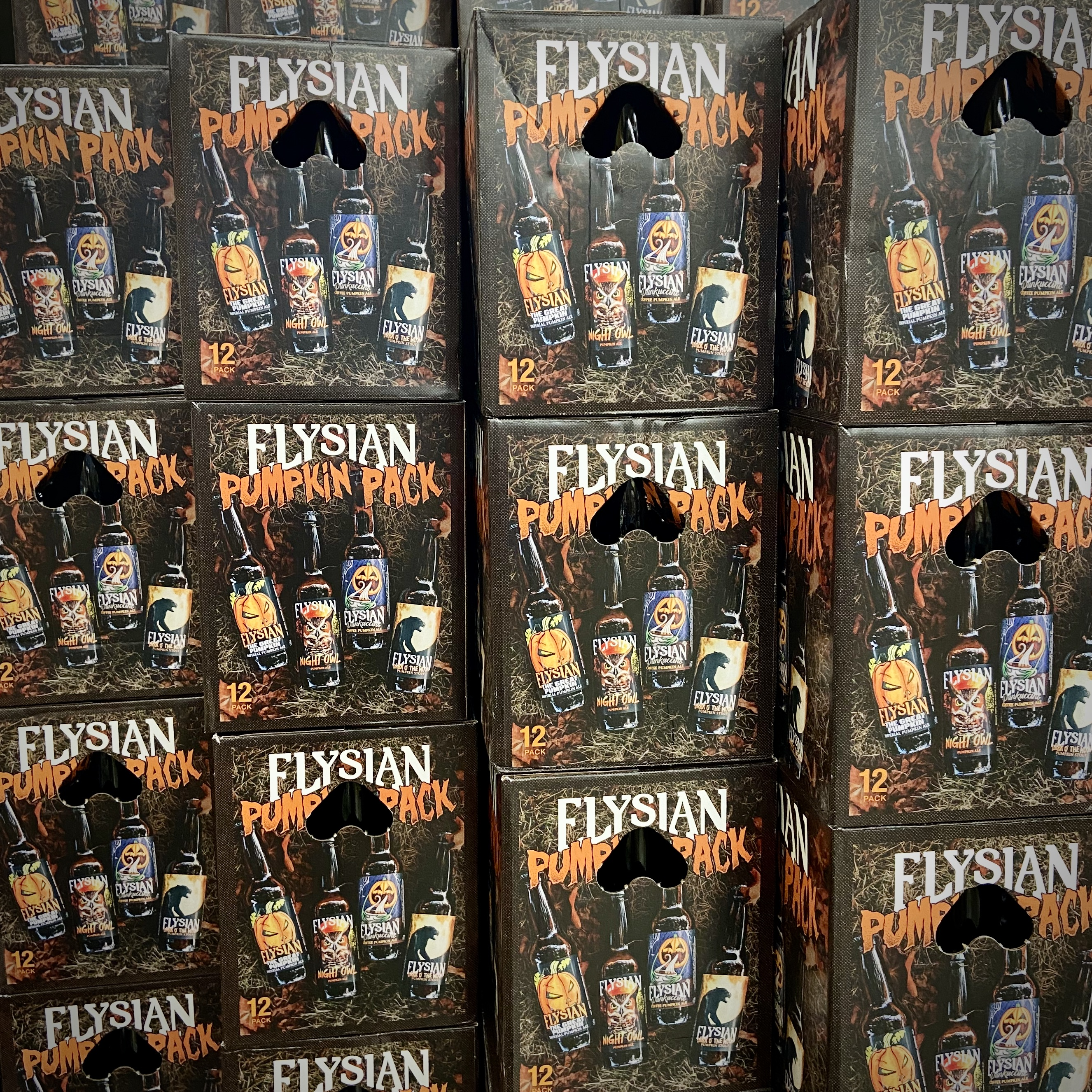 The Elysian Pumpkin Pack that contains three bottles each of The Great Pumpkin, Dark O' The Moon, Punkuccino, and Night Owl.