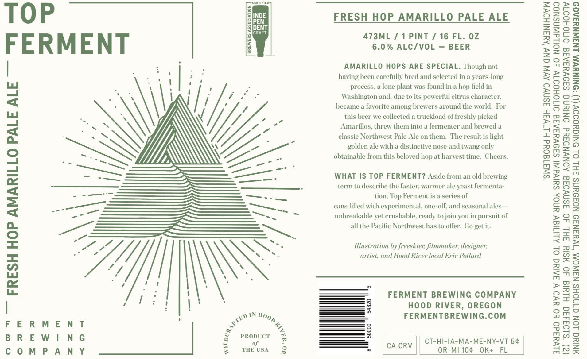 Ferment Brewing Co. Fresh Hop Amarillo Pale Ale Label