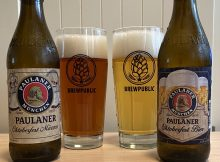 Glass pours of Paulaner Oktoberfest Marzen and Paulaner Oktoberfest Bier