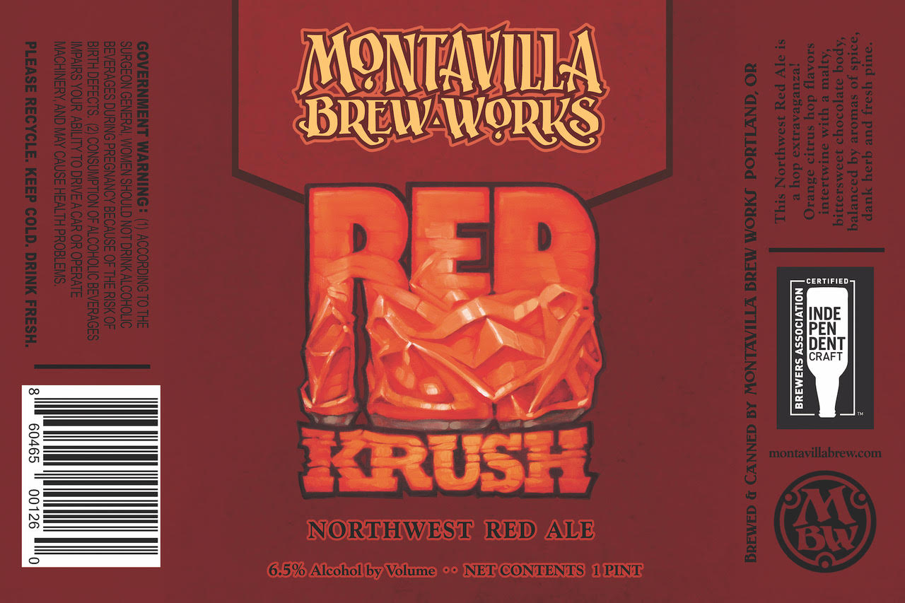 Montavilla Beer Works Red Krush Can Label