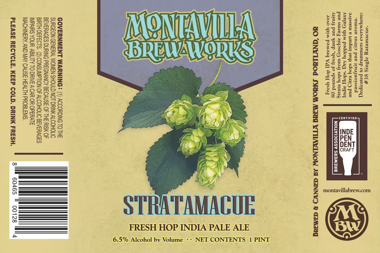 Montavilla Beer Works Stratamacue Fresh Hop IPA Can Label
