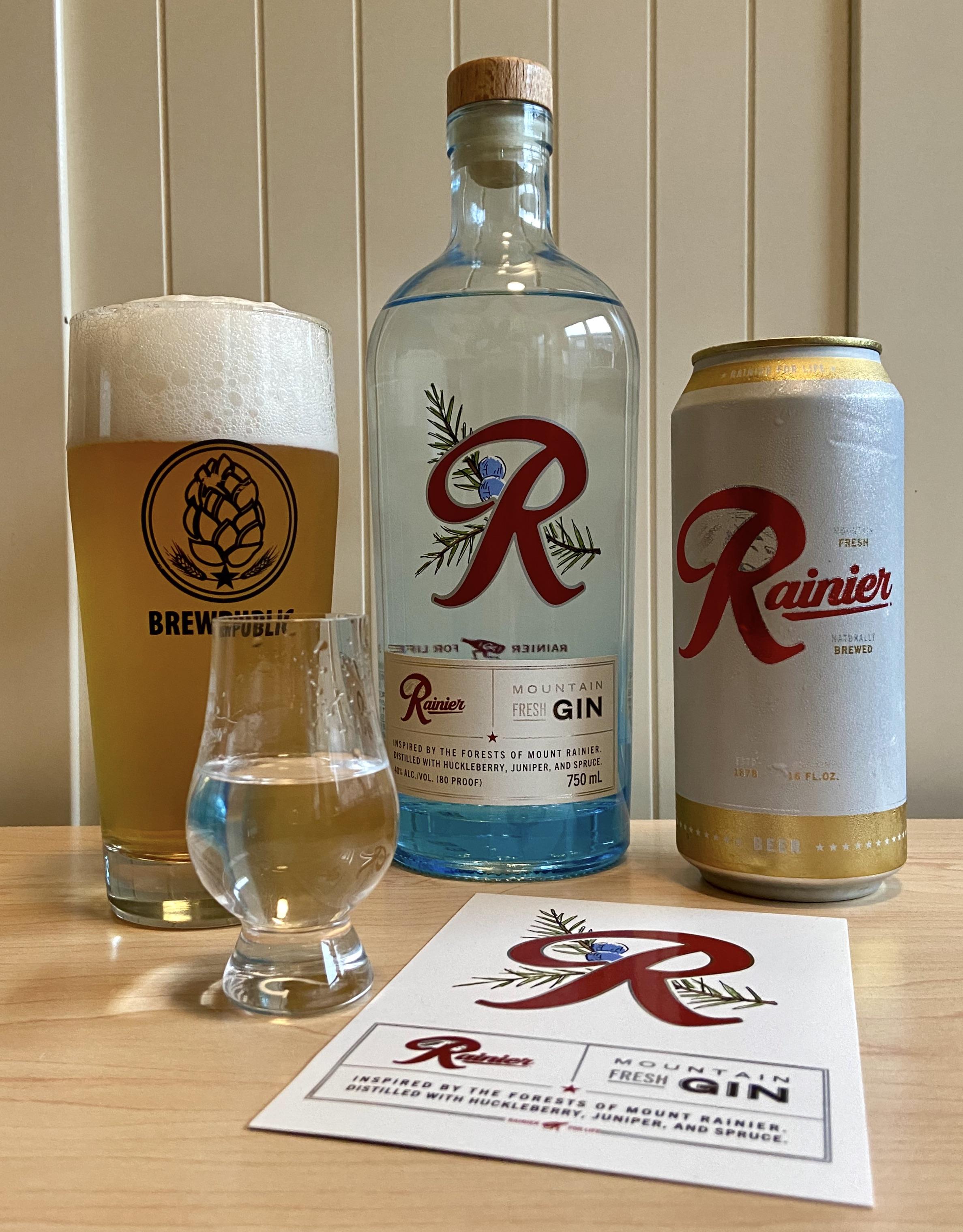 Rainier Mountain Fresh Gin with a Rainier Beer back.