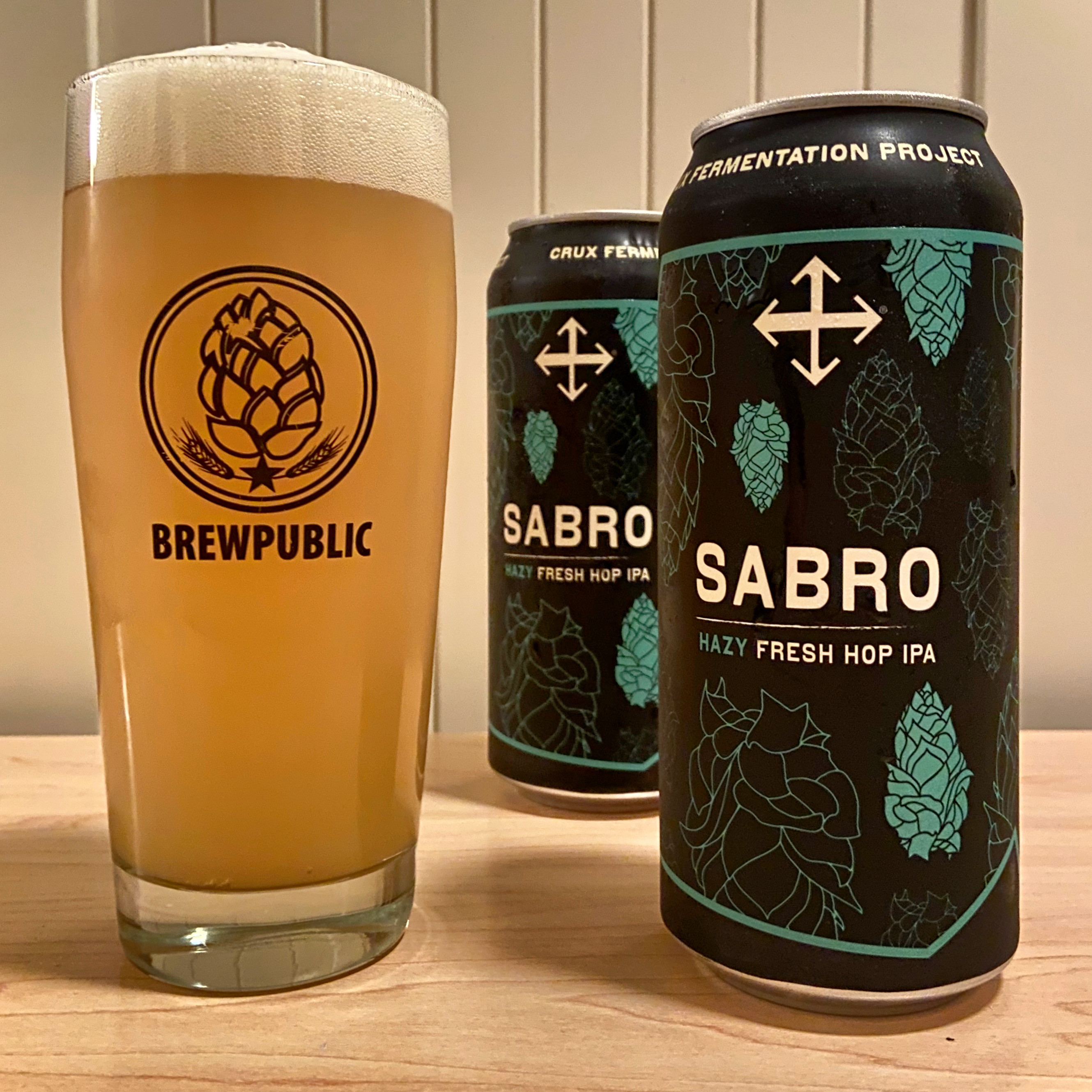 SABRO Hazy Fresh Hop IPA from Crux Fermentation Project is available in 16oz cans.