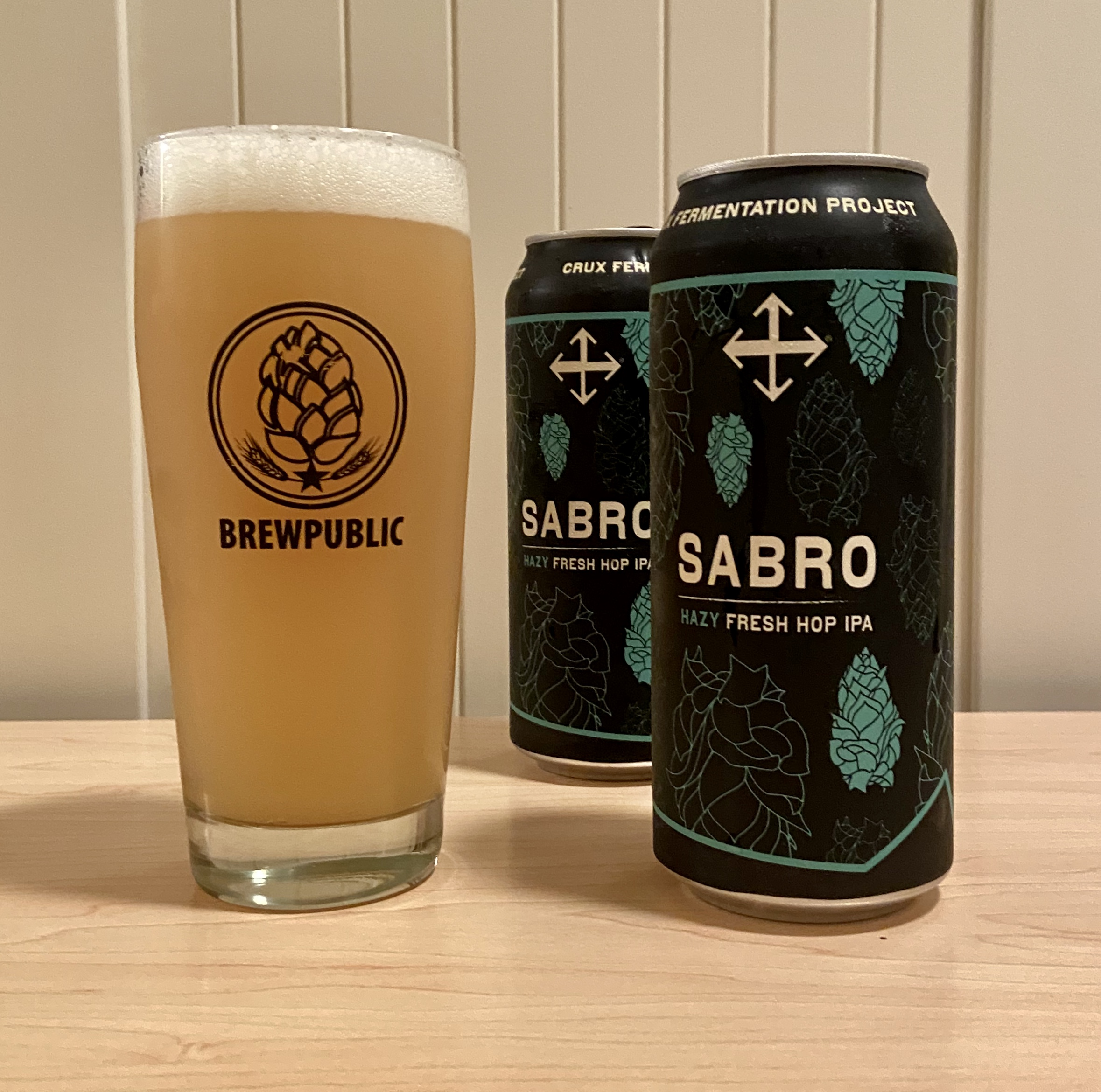 The new Sabro Hazy Fresh Hop IPA from Crux Fermentation Project is available in 16oz cans while they last.