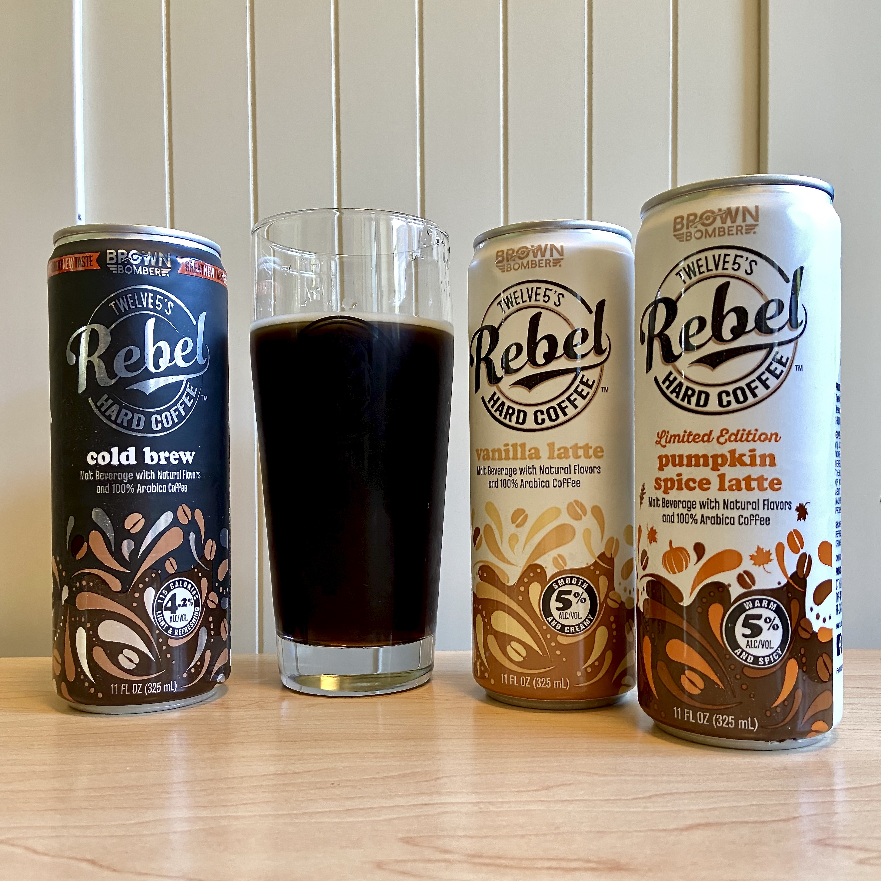 Twelve5 Beverage Co. Rebel Hard Coffee lineup of flavors that includes Hard Cold Brew, Vanilla Latte, and the Limited Edition Pumpkin Spice Latte. Not pictured is Mocha Hard Latte.