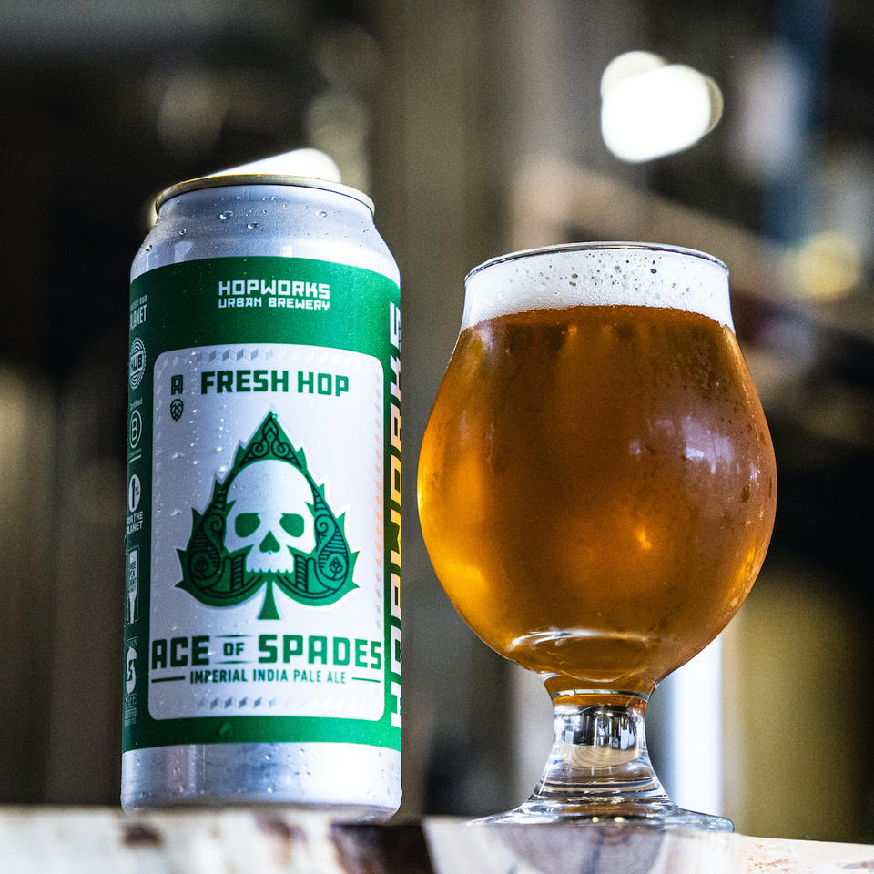 image of Fresh Hop Ace of Spades Imperial IPA courtesy of Hopworks Urban Brewery